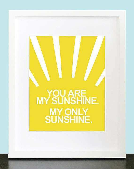 You Are My Sunshine Set of 3 Wall Art 8x10 by