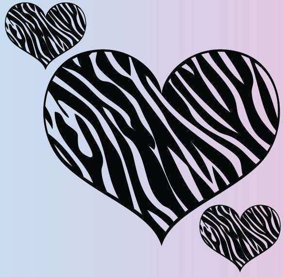 Extra Zebra Heart Set of 3 Wall Stickers Removable