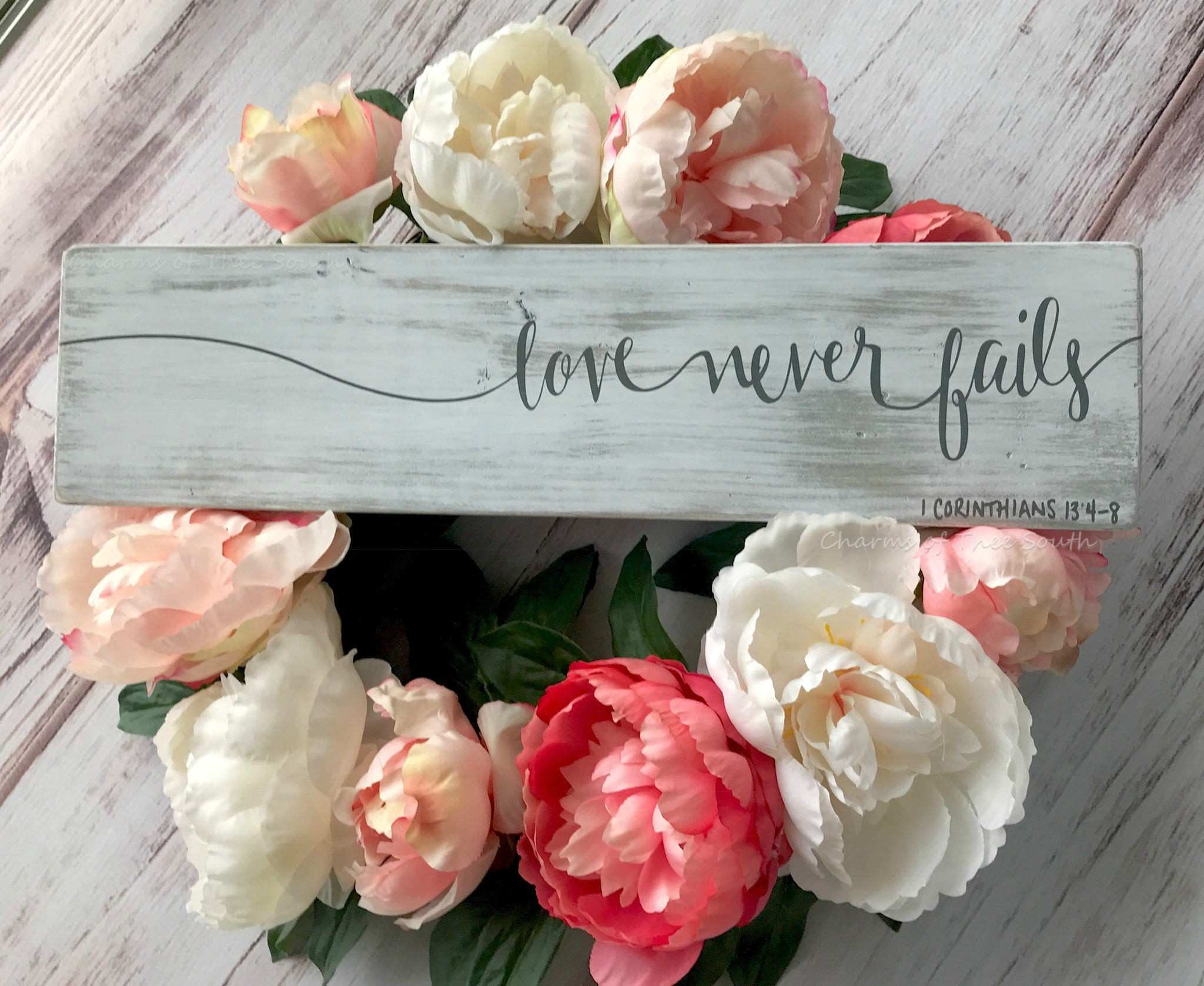Love Never Fails Scripture Wall Art Christian Home Decor