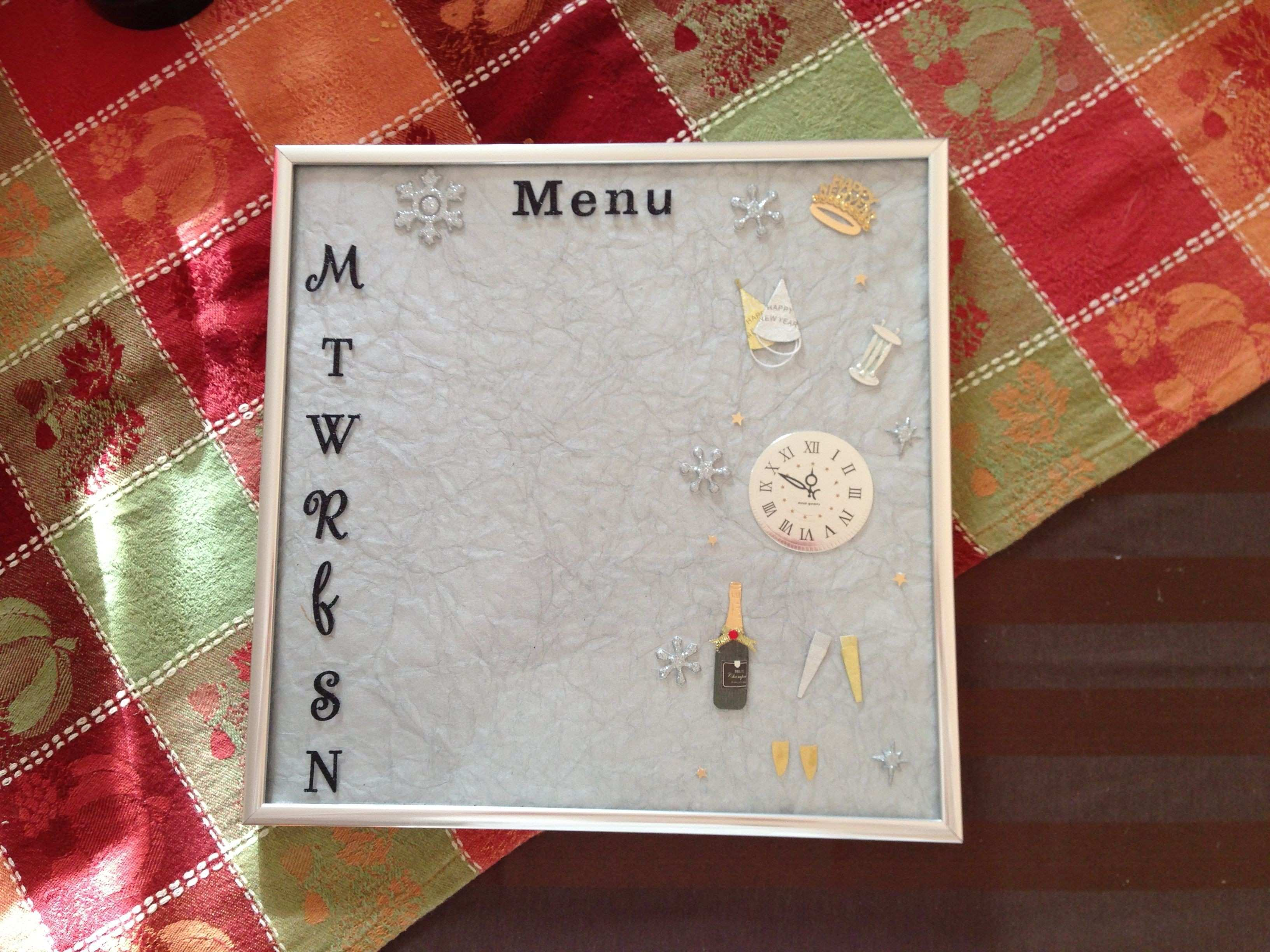 12x12 Picture Frame Inspirational Menu Board with Monthly themes Use ...
