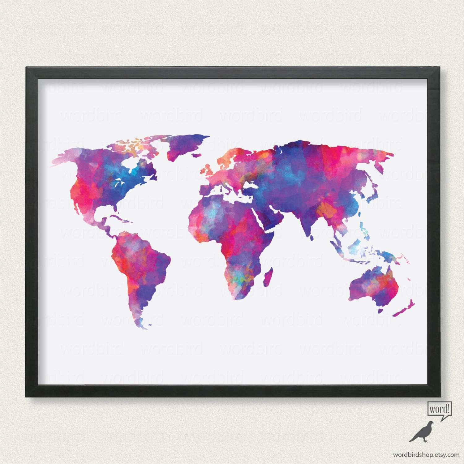 Watercolor World Map up to 24x36 Digital Watercolor Painting