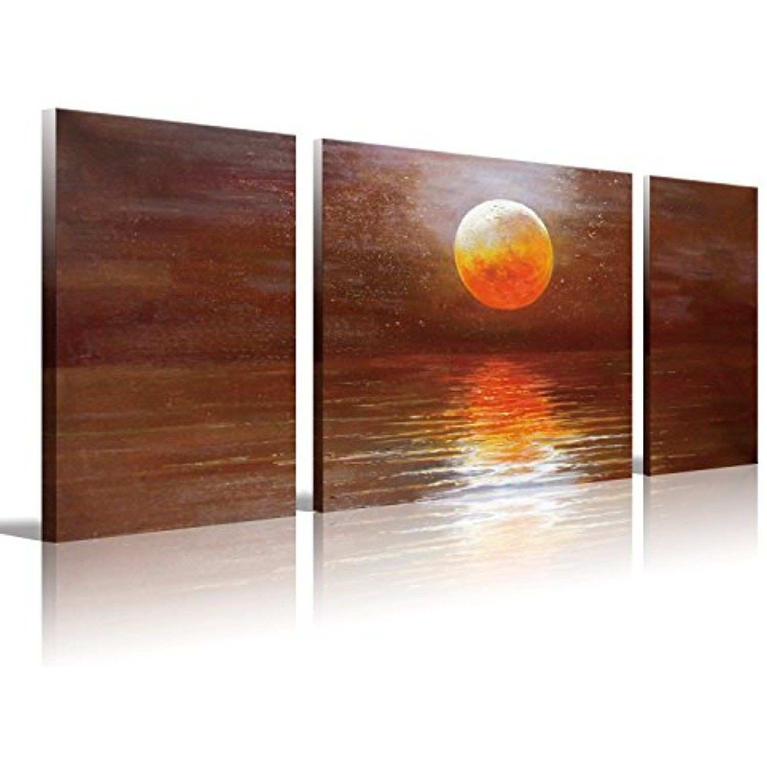 """Set 3 Hand Painted Oil Painting """"red Moon"""" Canvas Wall Art for"""