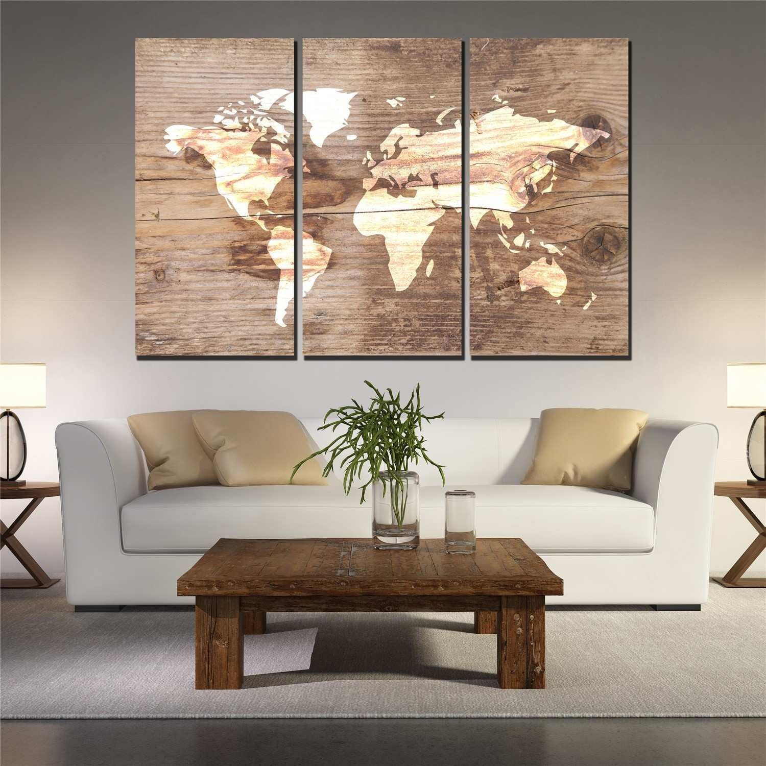3 Picture Wall Art Beautiful 3 Panel Wrold Map Poster On Vintage Plank Canvas Wall Art