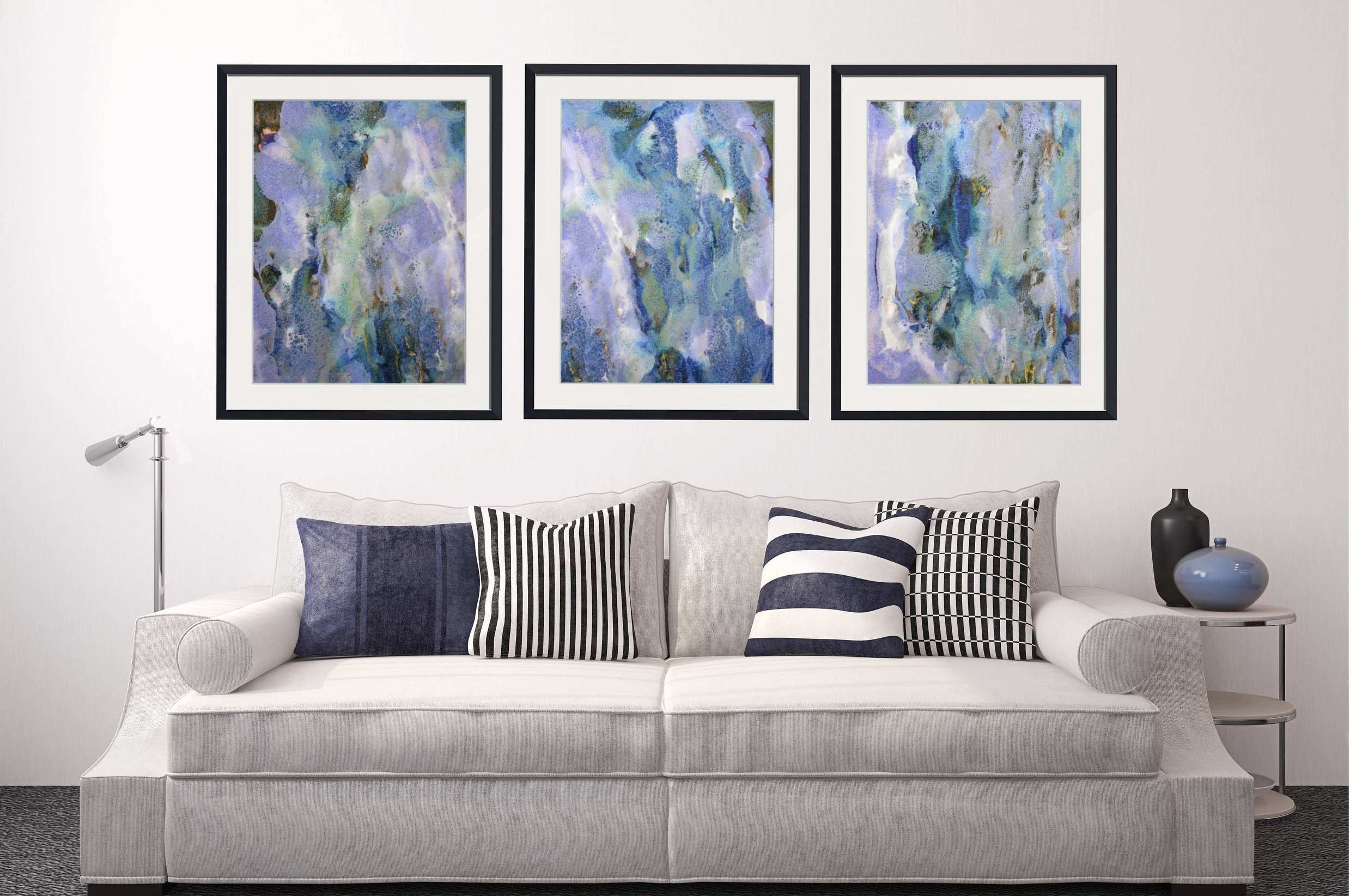 Set of 3 Abstract Framed Wall Art Rectangle 36 37 & 38 — Maggie