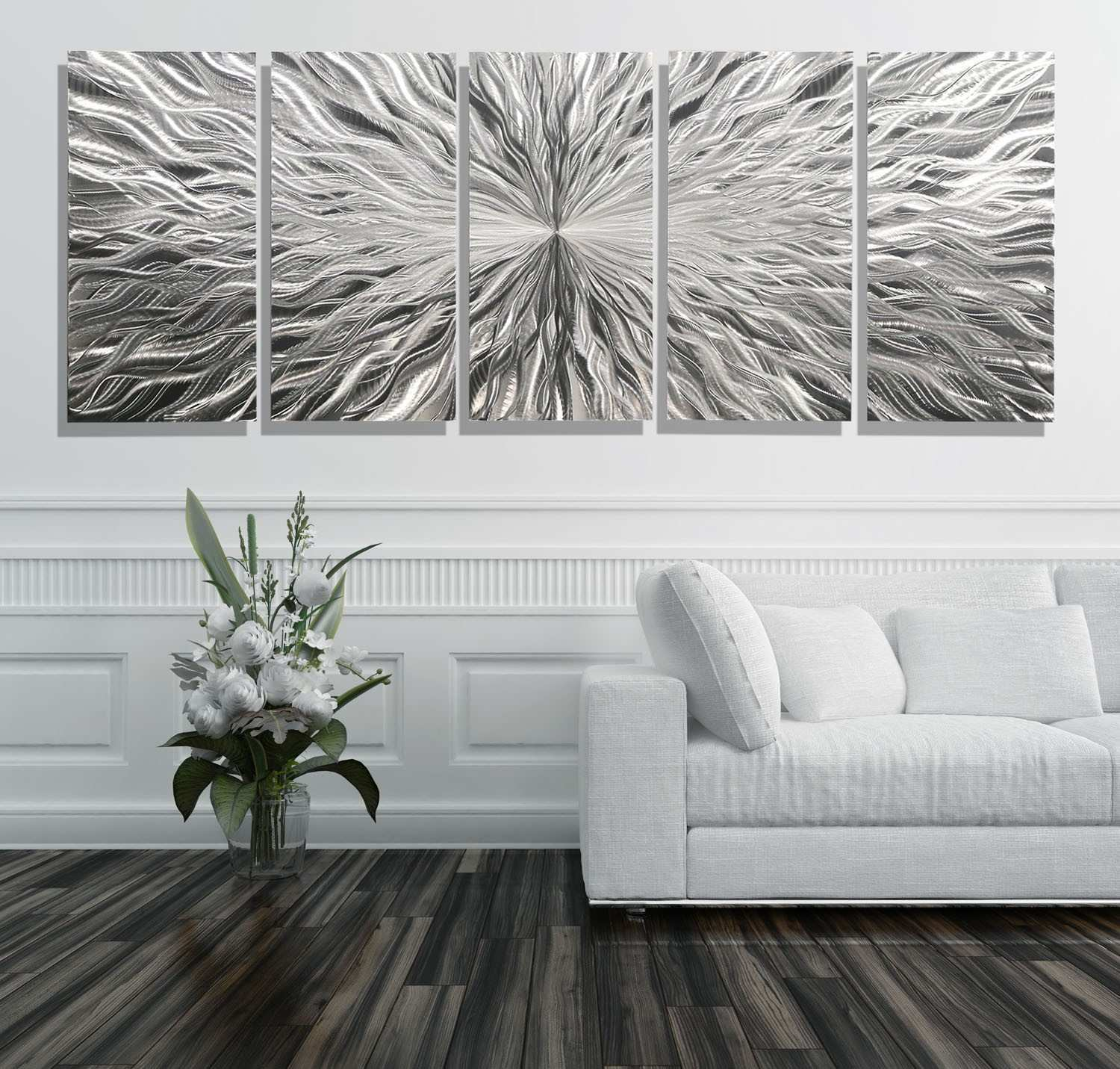 3 Picture Wall Art Inspirational Vortex 5 Xl Extra 5 Panel Modern Abstract Metal Wall Art by