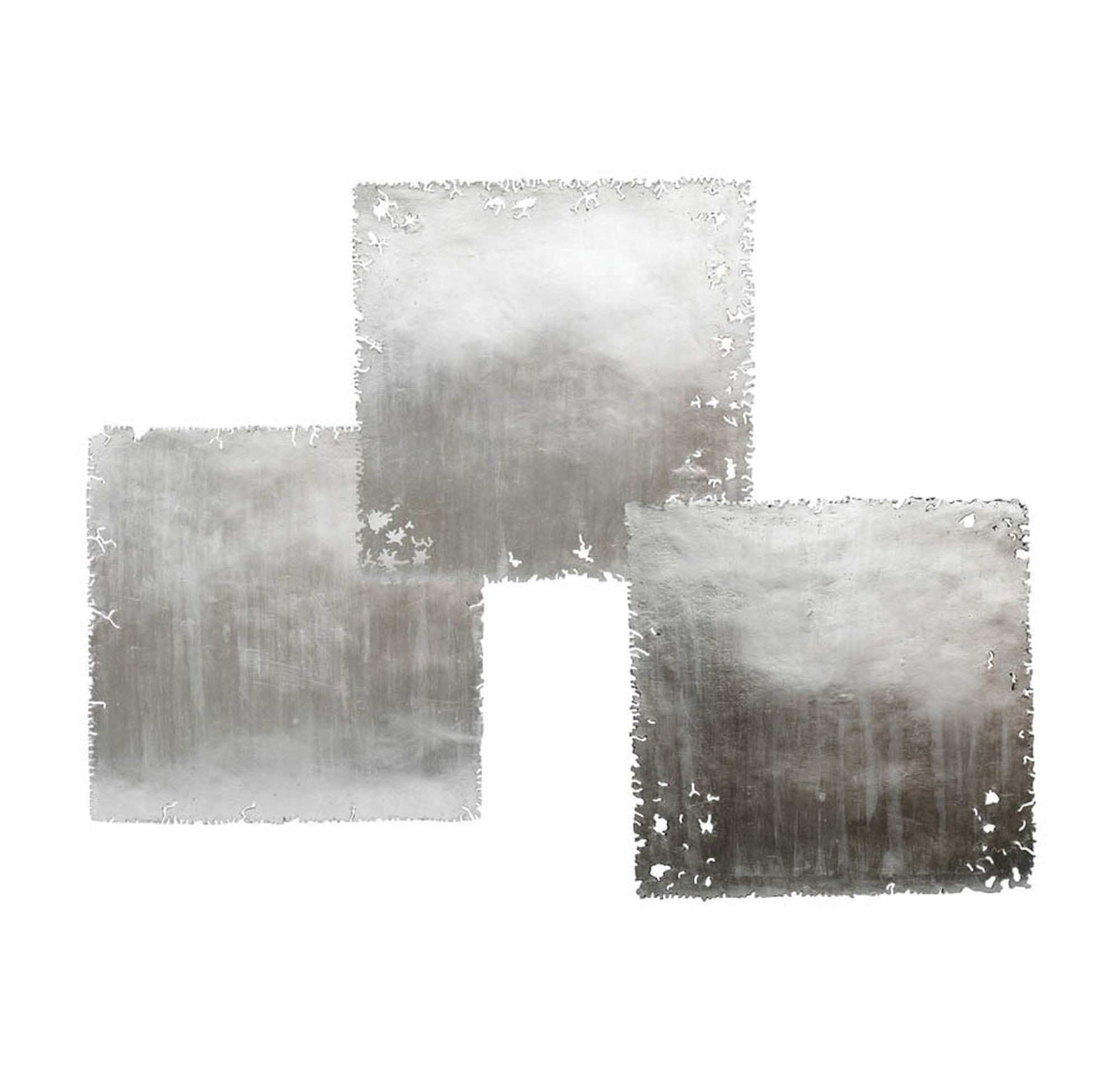 SILVER LEAF SQUARE WALL ART SET OF 3