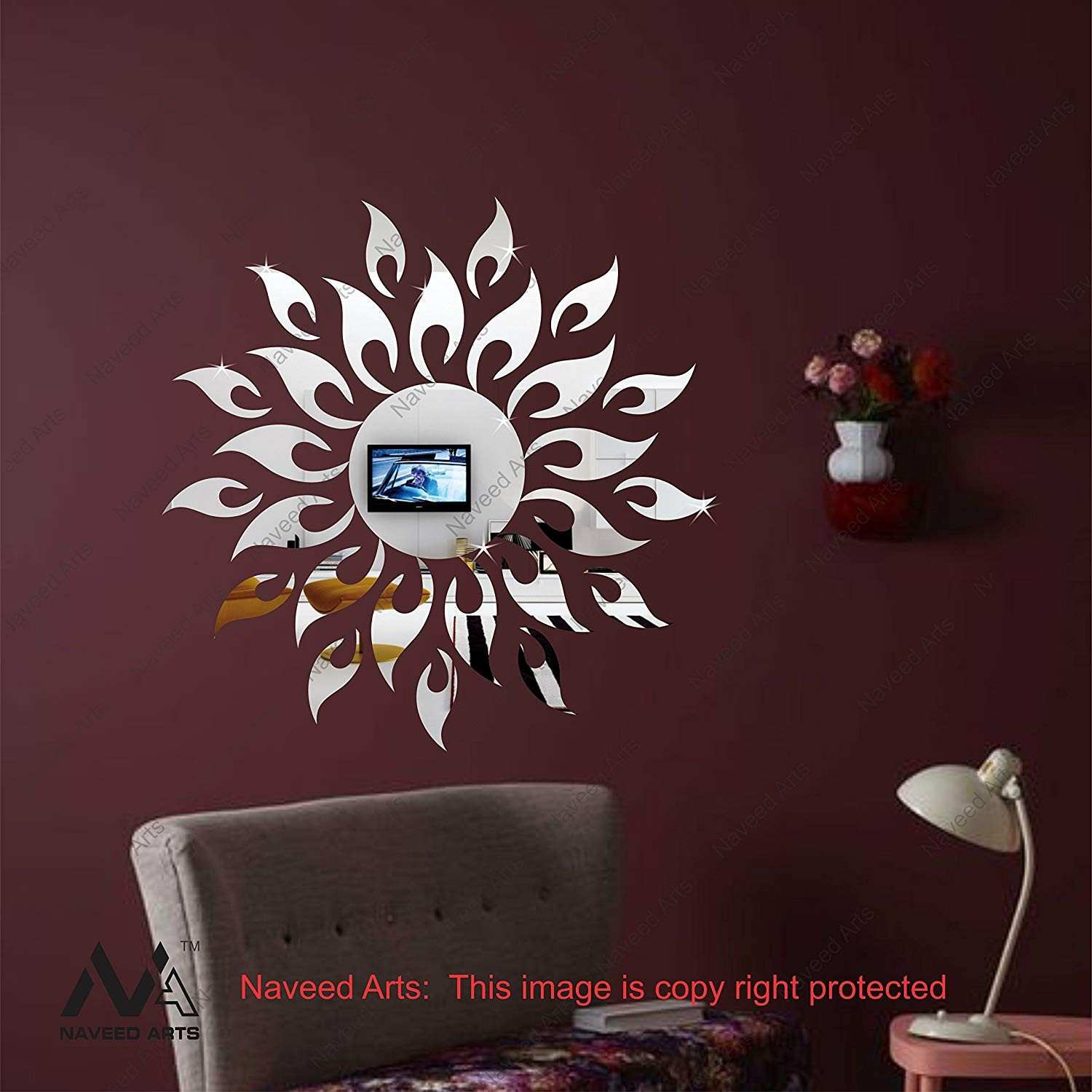 Buy Naveed Arts 61 cm x 61 cm Sun Silver Acrylic Mirror Decor
