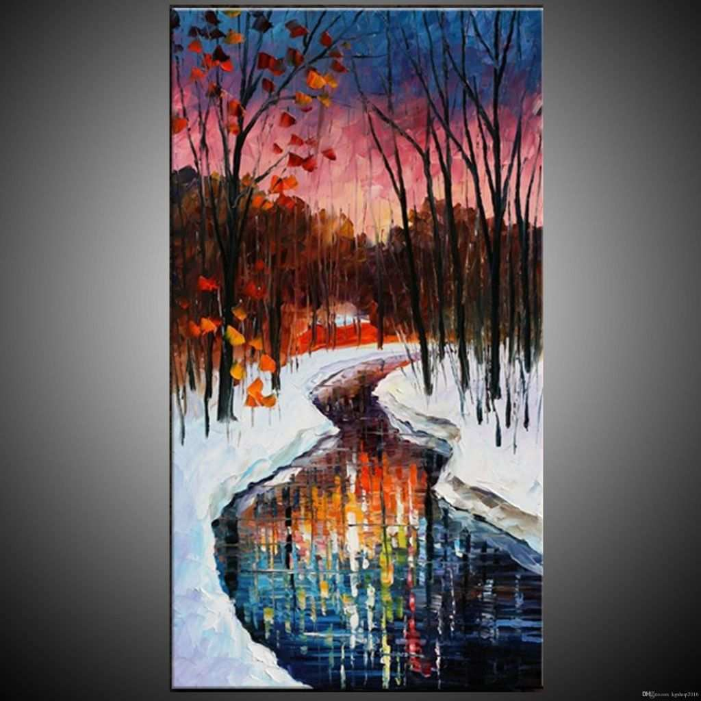 3 Piece Paintings New Kg Handmade Acrylic Painting Canvas Art Knife Paintings River