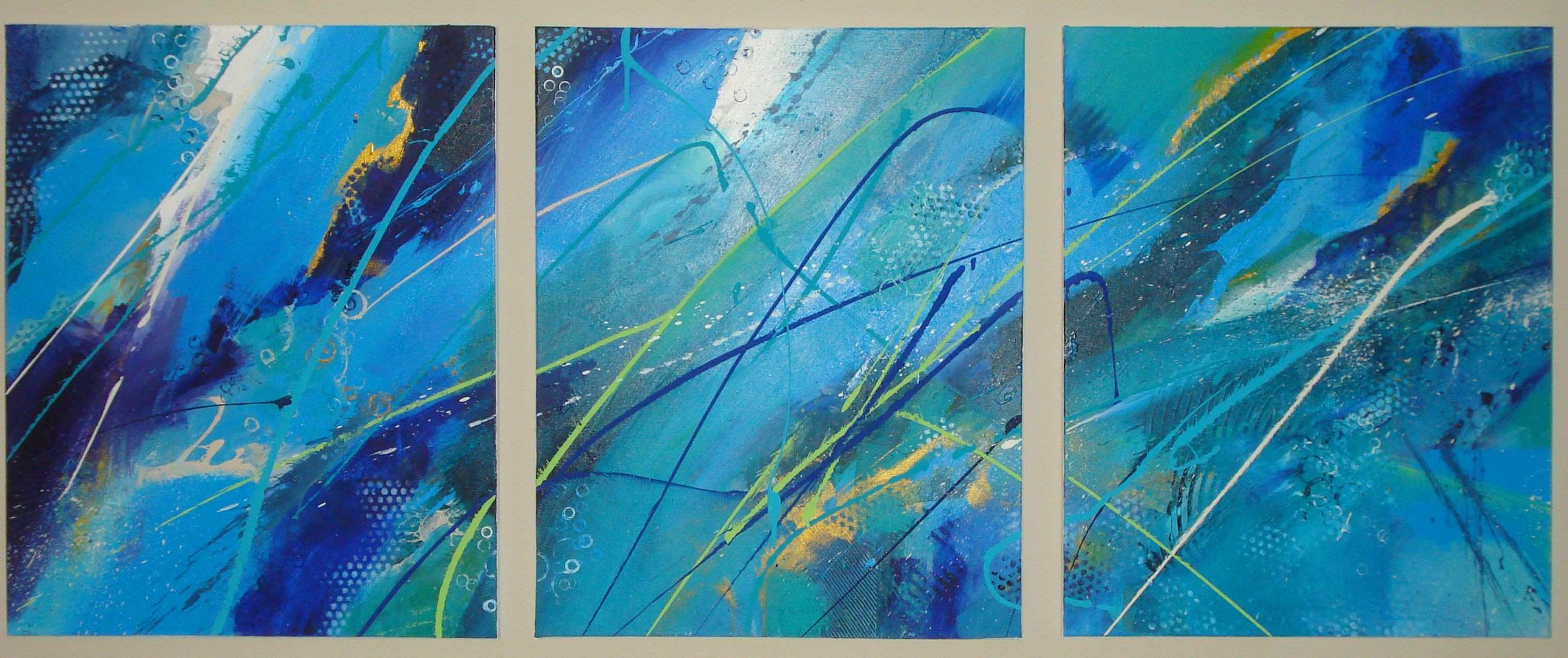 """Patty Ewing 72"""" x 30"""" triptych Gallery Wrapped Abstract Acrylic"""
