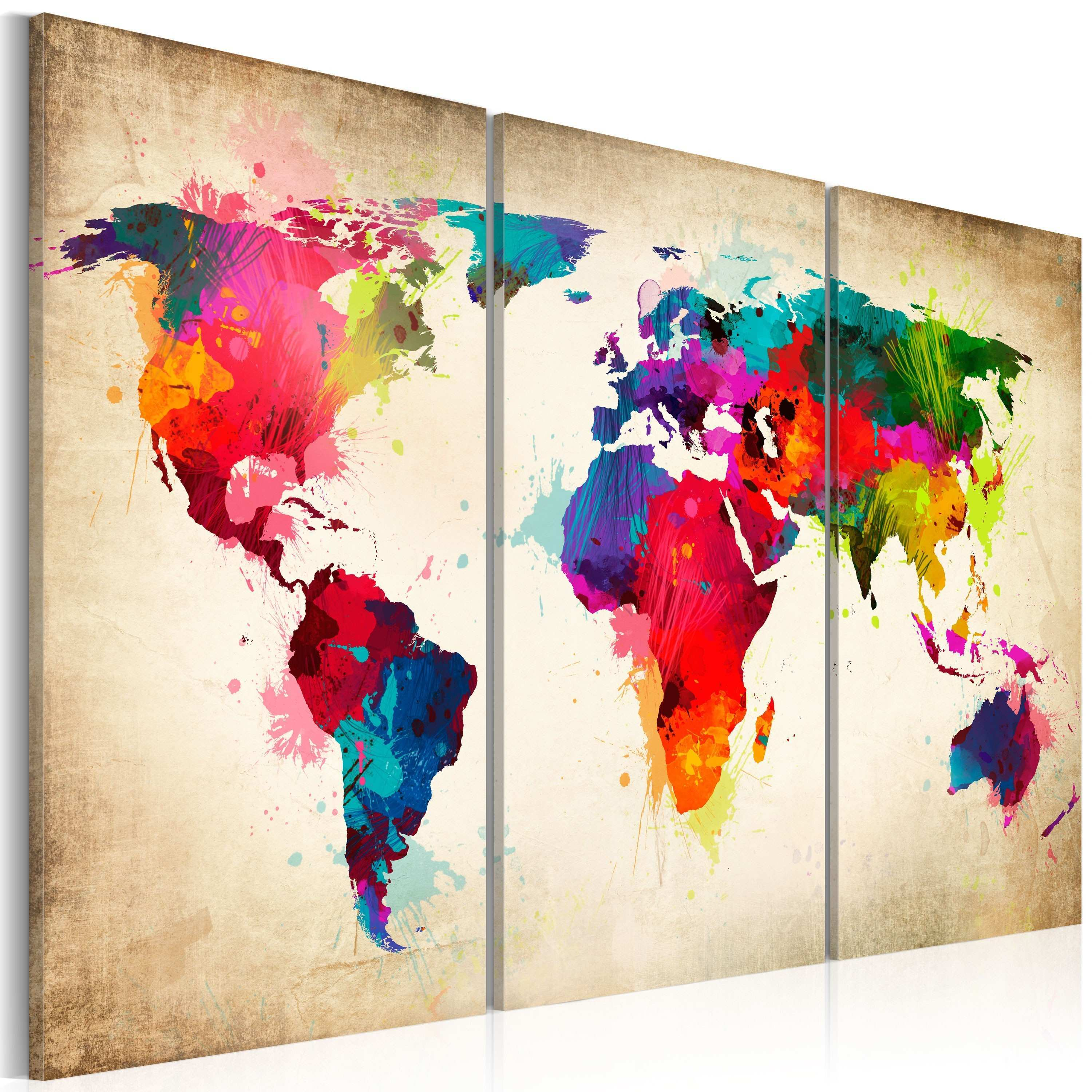 3 Piece Wall Art Painting Best Of Canvas Painting Rainbow Continents World Maps Canvas Prints
