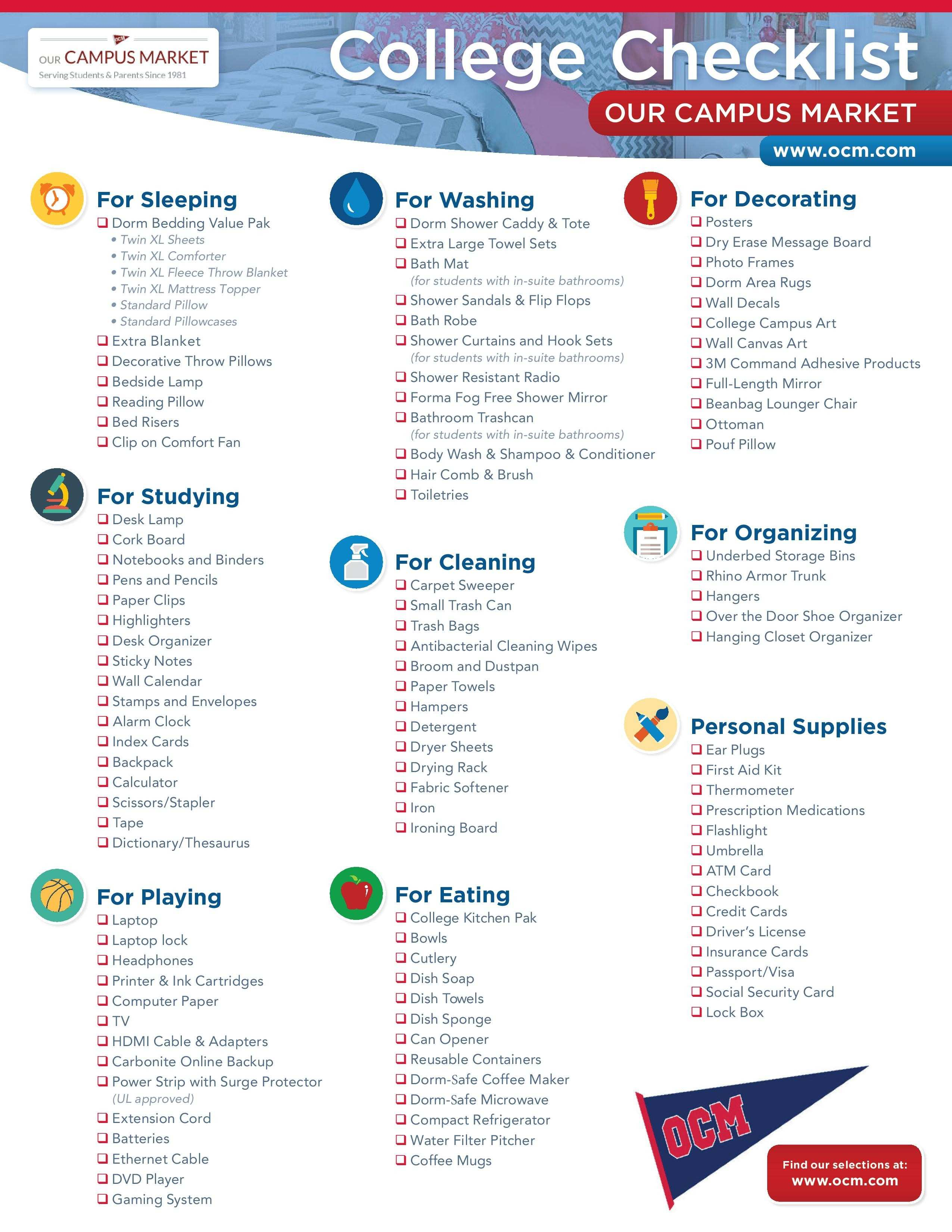 College Packing Checklist What to Bring to your Dorm Room