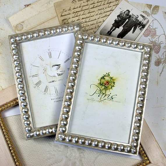 4x6 inch or 4x5 inch Silver Boule Picture Frame Silver