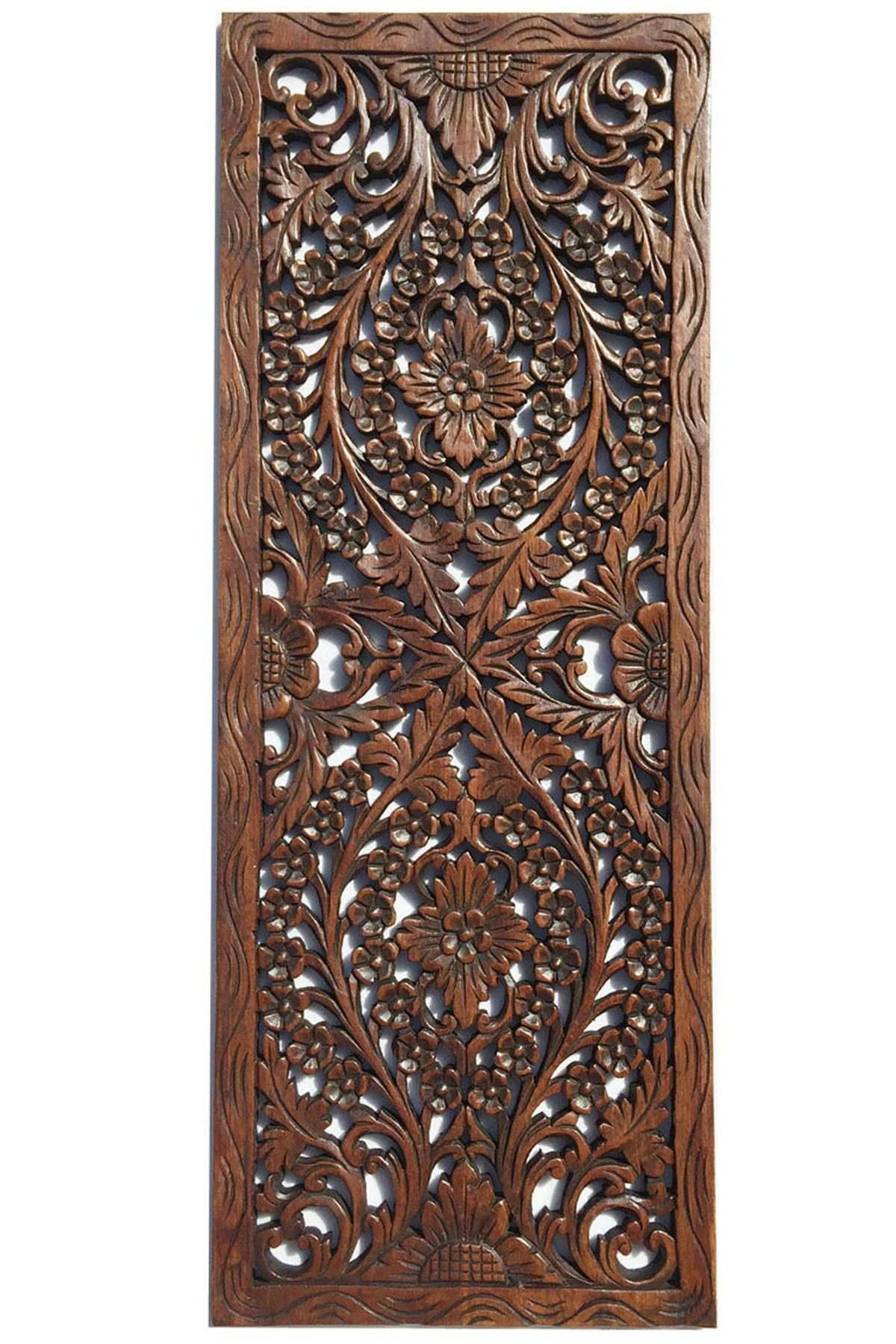 Floral Wood Carved Wall Panel Wall Hanging Asian Home Decor
