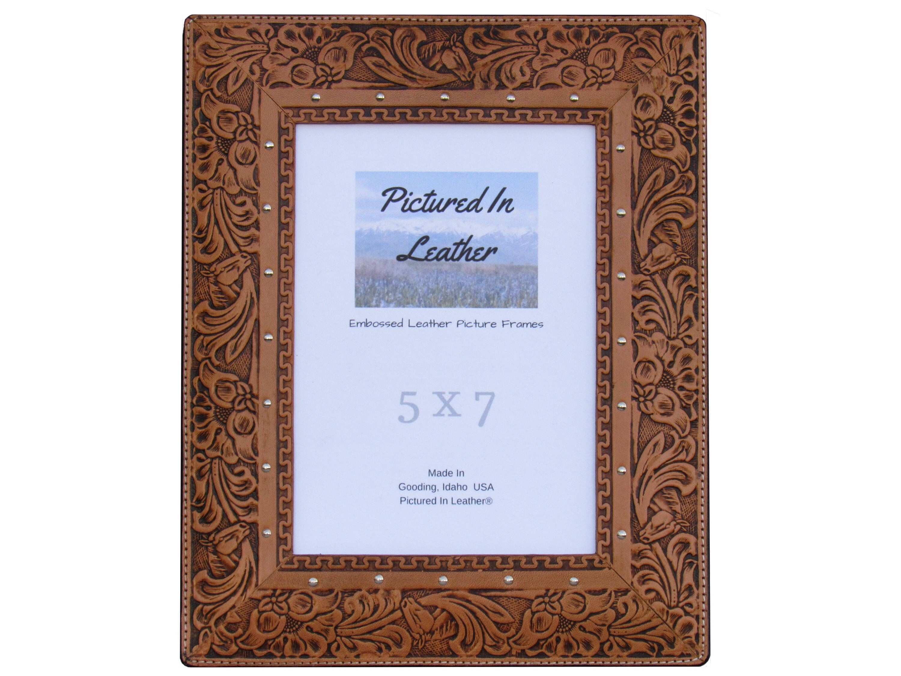 $54 A leather picture frame 5x7 embossed with a horse and floral