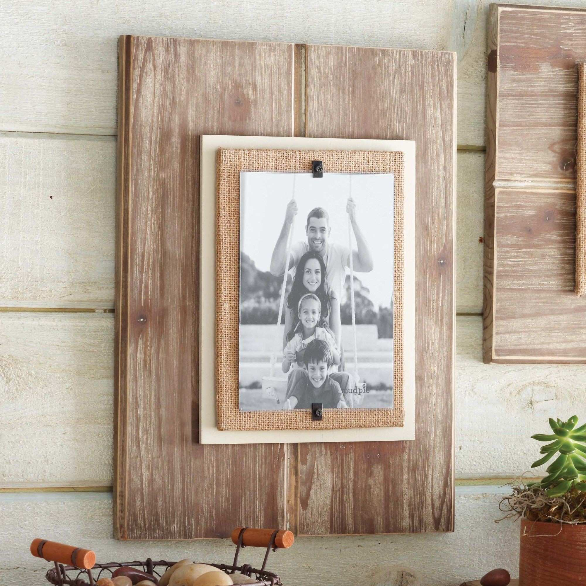 5x7 Picture Frames Lovely Features Distressed Wood Frame with Burlap ...