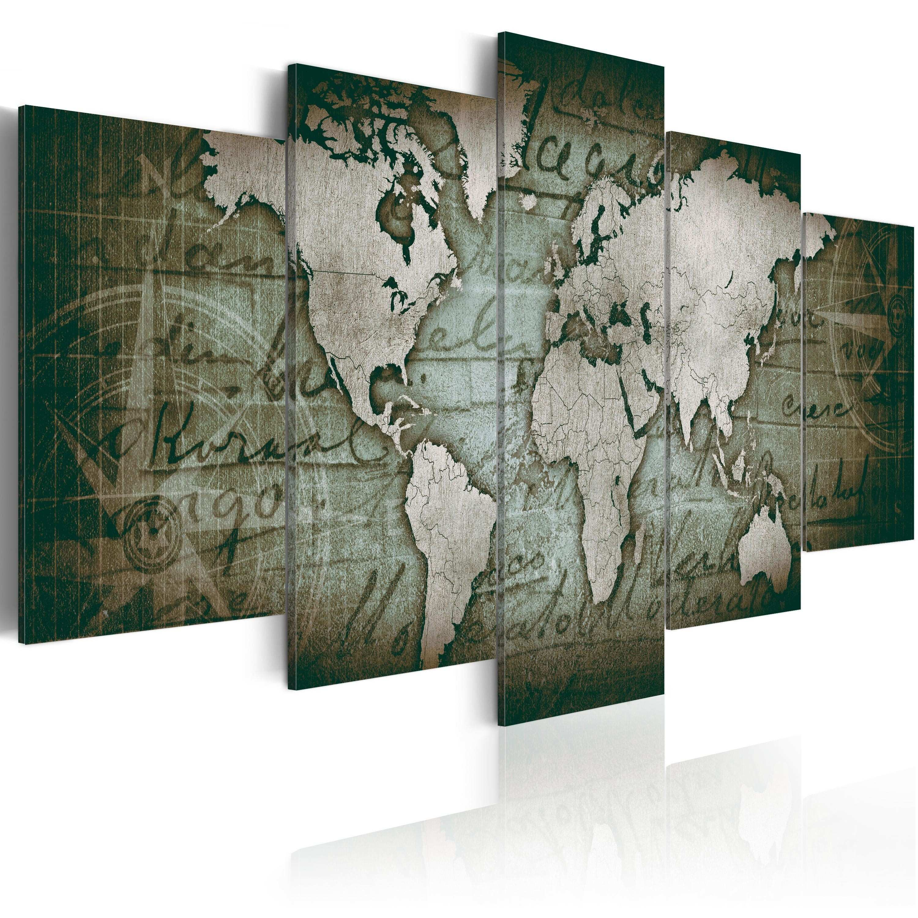Canvas Painting Emerald Map World Maps Canvas Prints