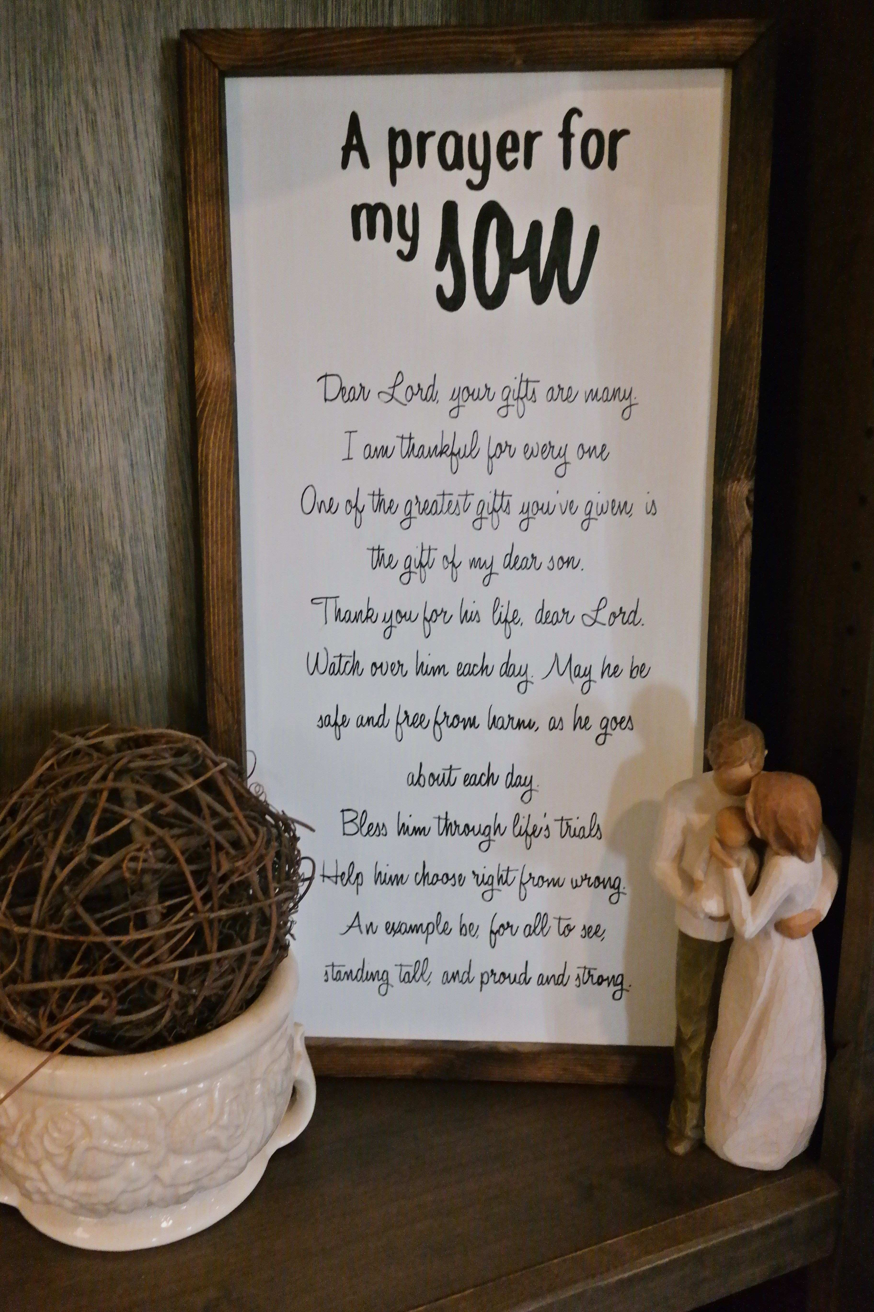 "Wooden framed ""A Prayer for my Son"" Sign by M E Refined Designs"