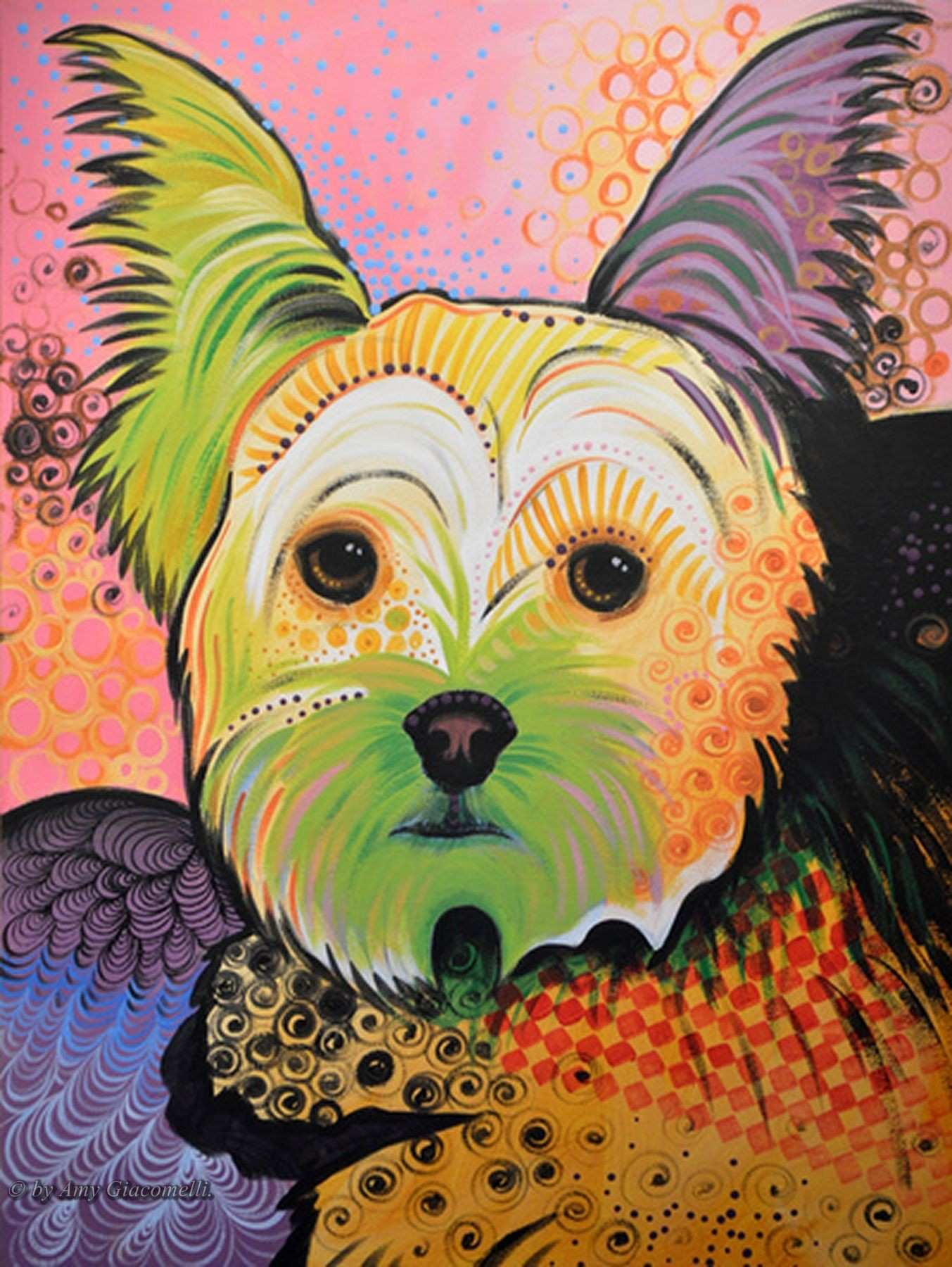 Daisy Abstract Yorkshire Terrier by Amy Gia elli