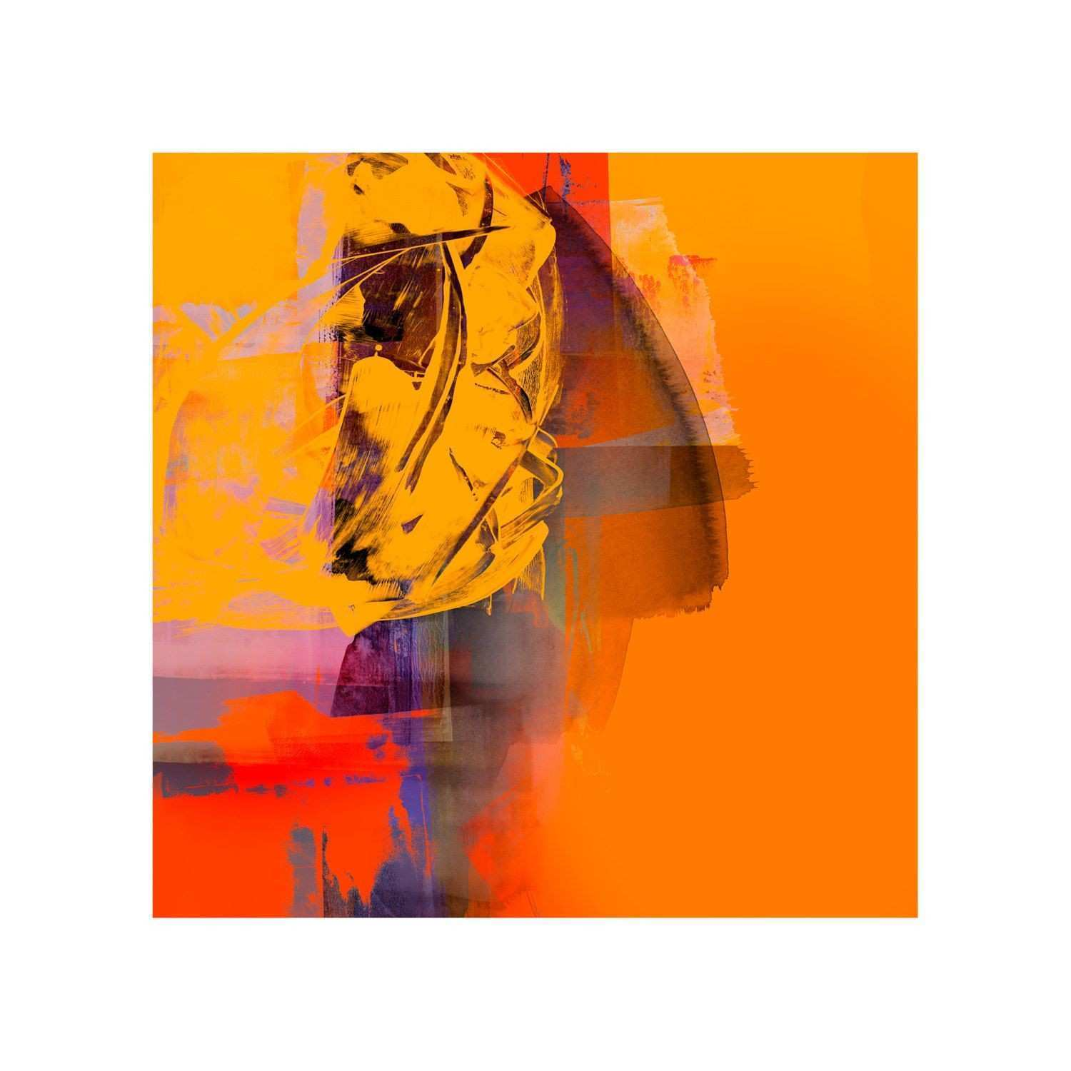 Vibrant Orange Abstract Art Print Inspired By Abstract