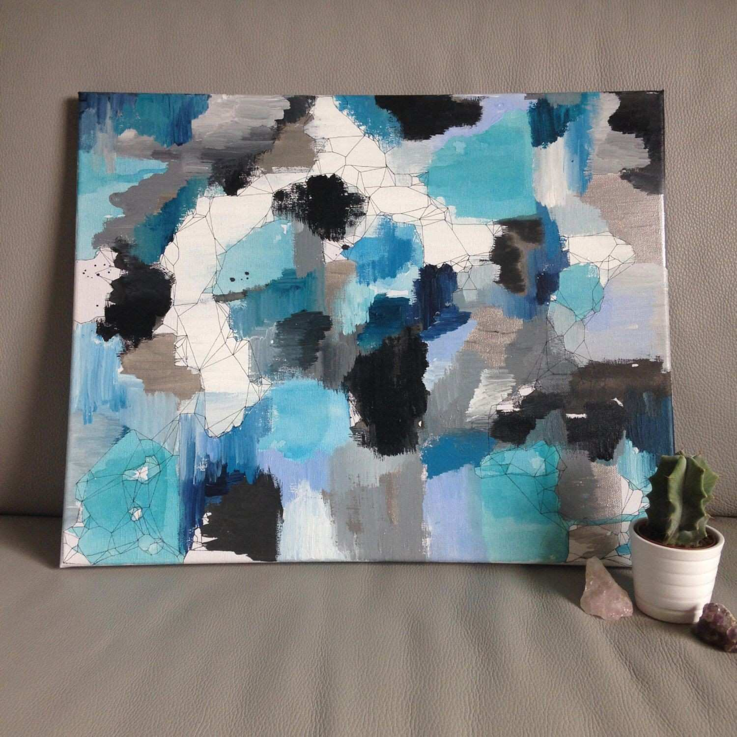 Original A2 Abstract Canvas with Geometric Detail Blue & Silver