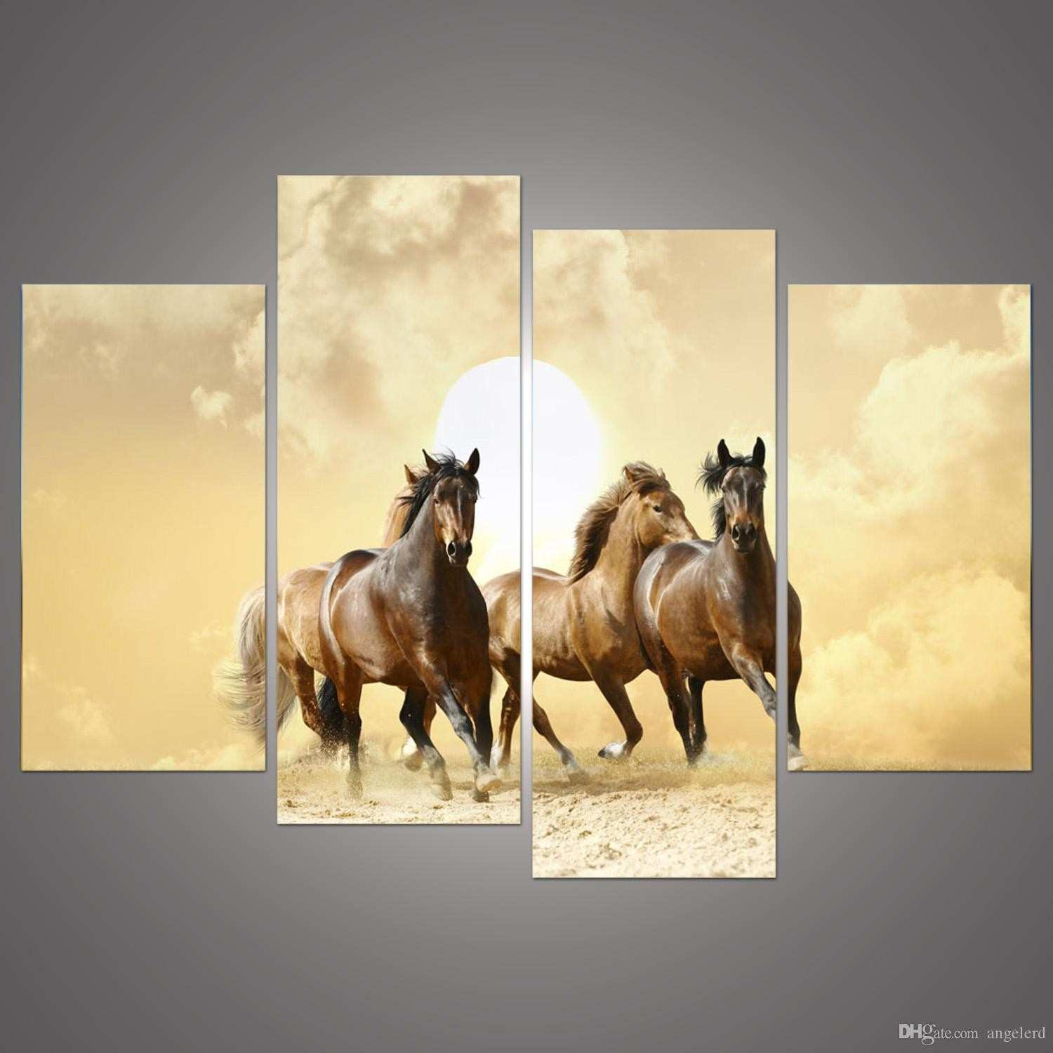 line Cheap 4panel Modern Horse Canvas Painting 4 Panel Set