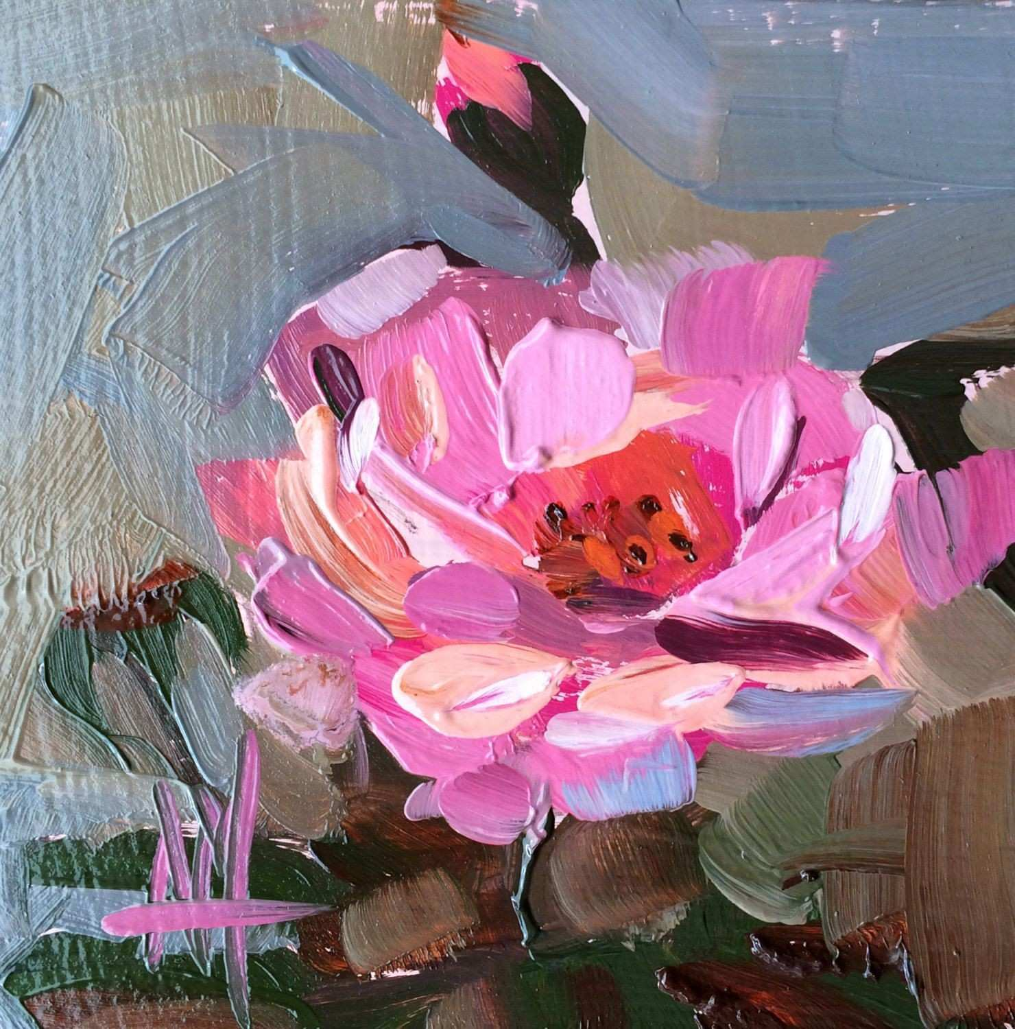 Country Rose Original Floral Oil Painting by Angela Moulton 4 x 4