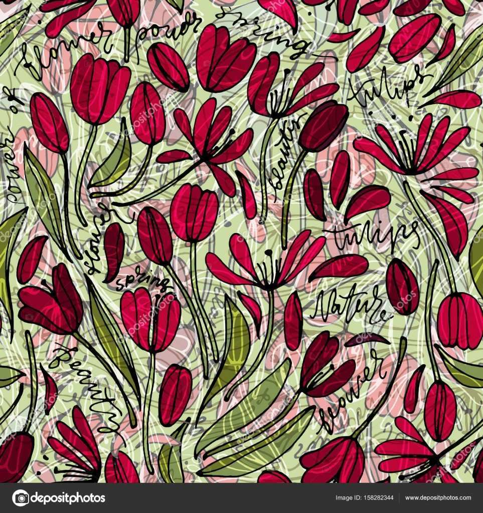 Vintage floral hand drawn seamless pattern Hand drawn abstract