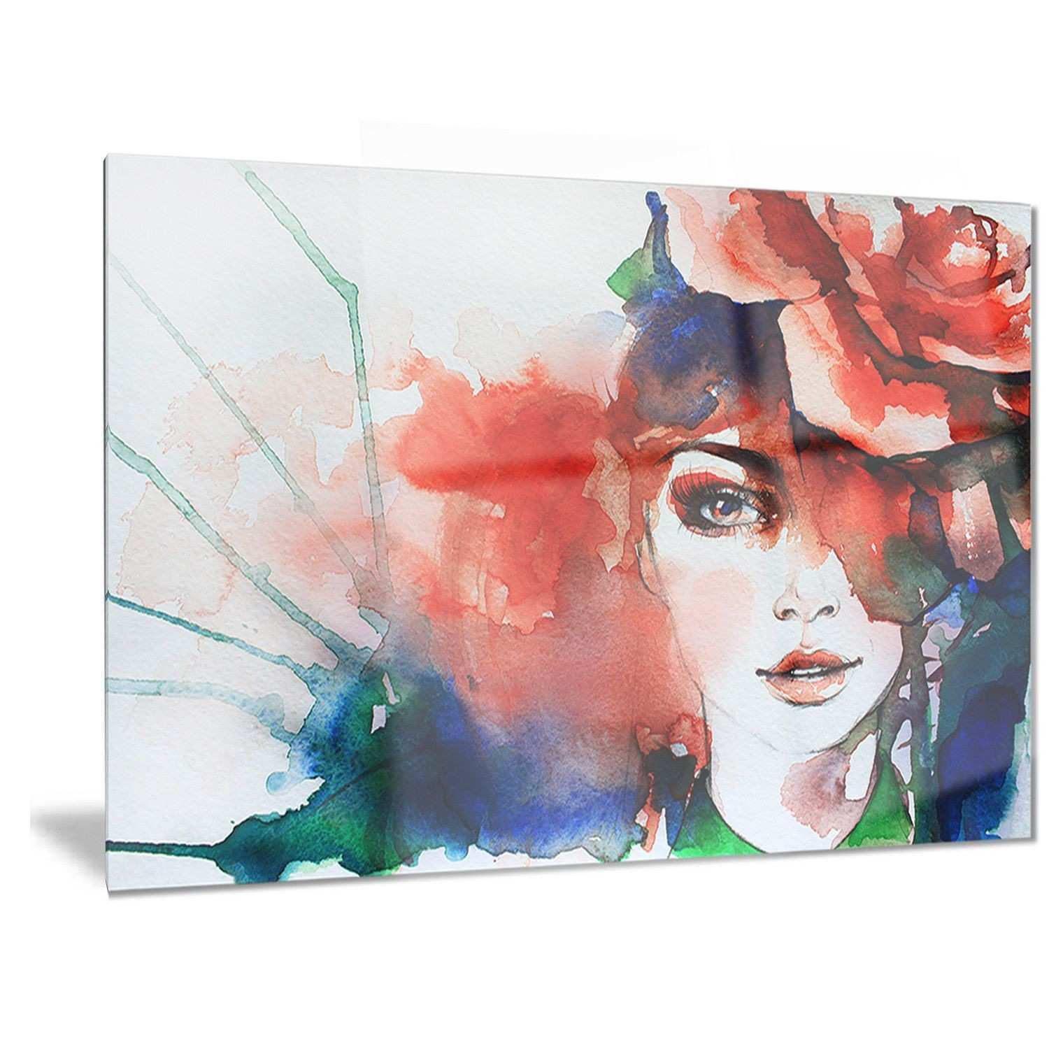Designart Woman with Rose Illustration Abstract Metal Wall Art