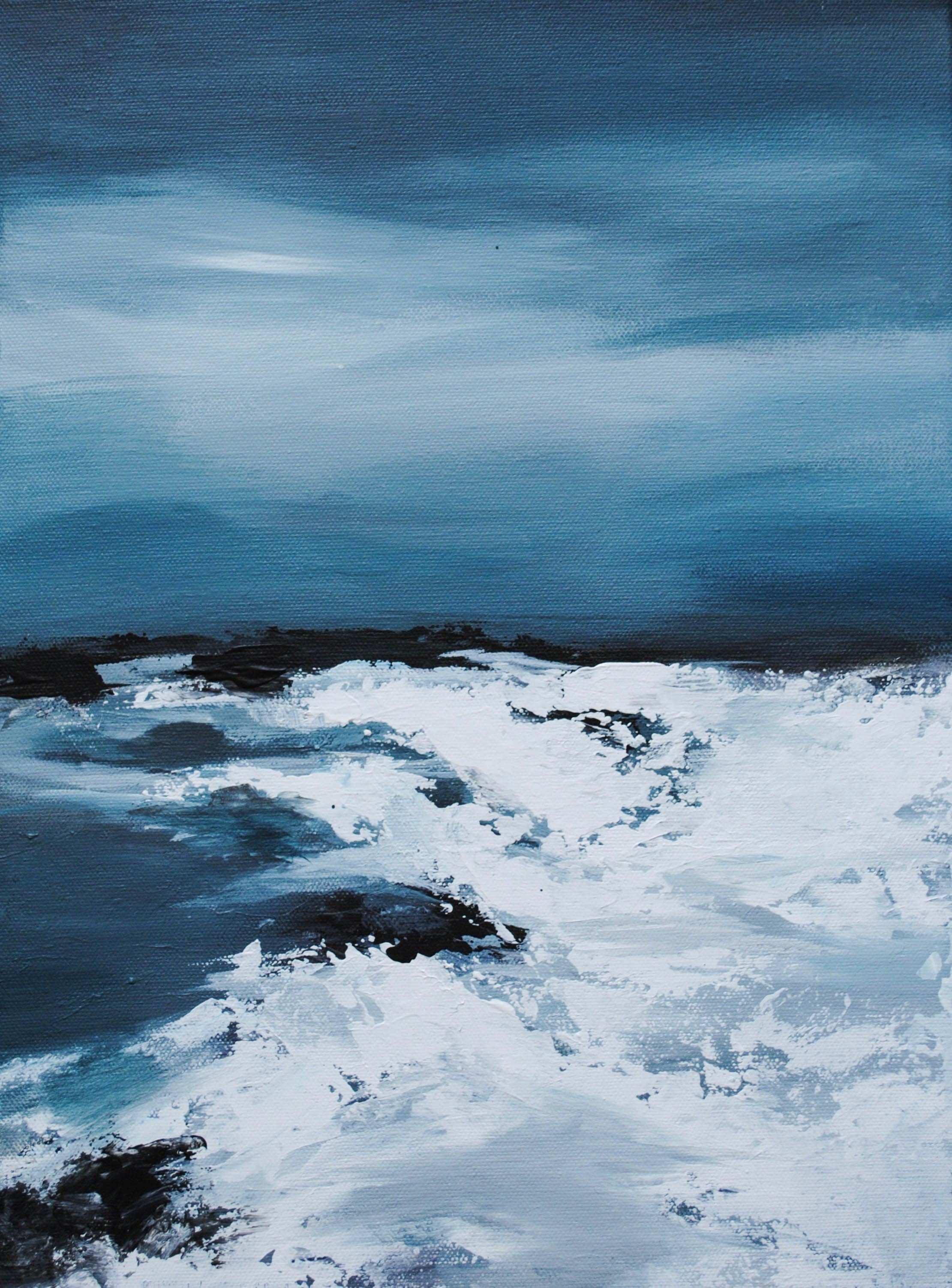 Stormy seascape abstract ocean waves painting