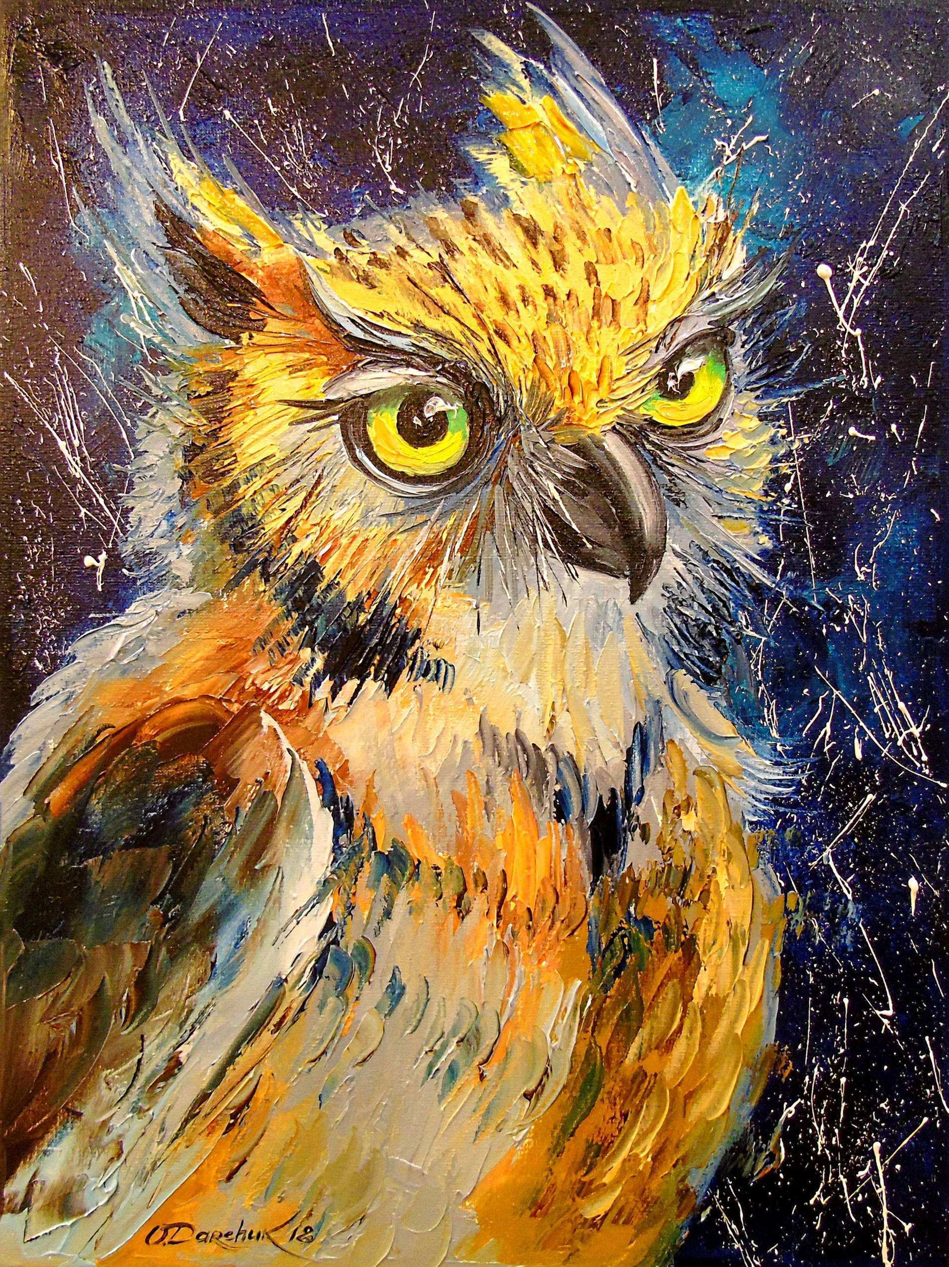 Saatchi Art Owl Painting by Olha Darchuk
