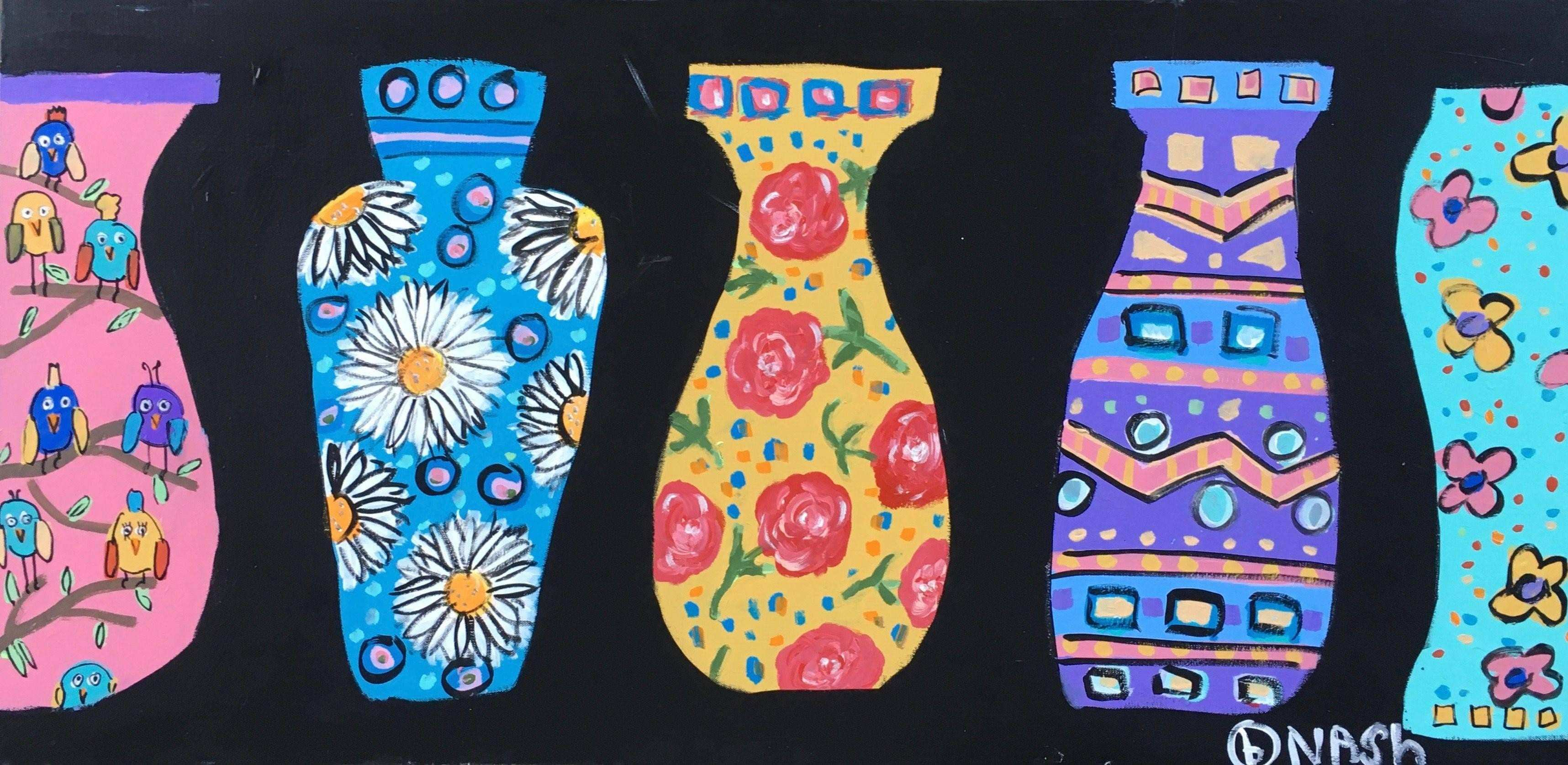 Brian Nash Vases Acrylic Painting on Canvas Painting For Sale at