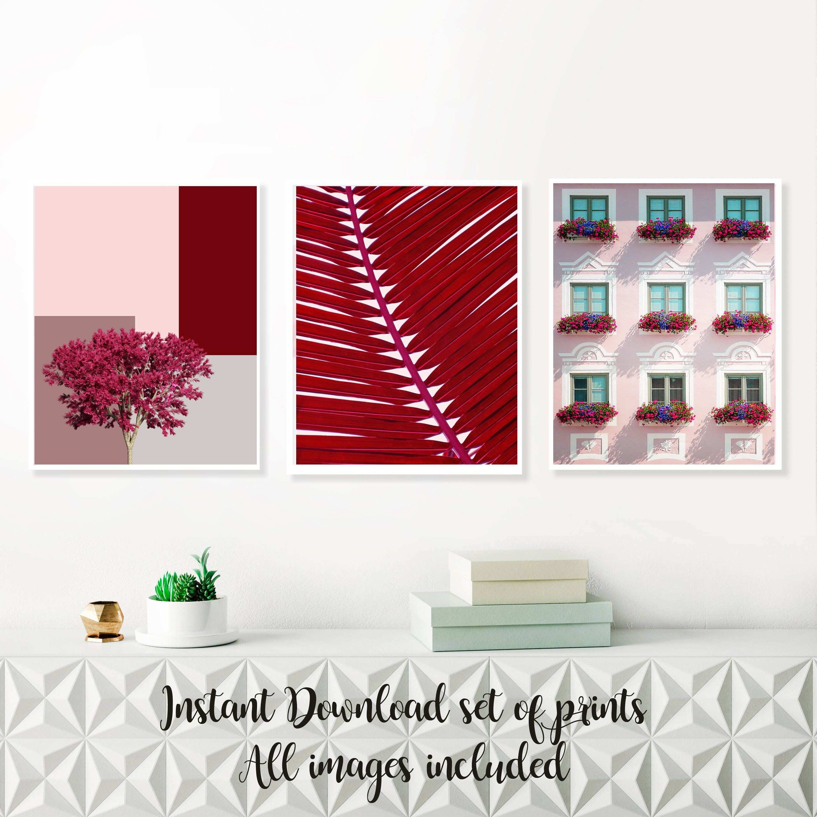 Set of 3 abstract art print cherry pink wall art palm leaf