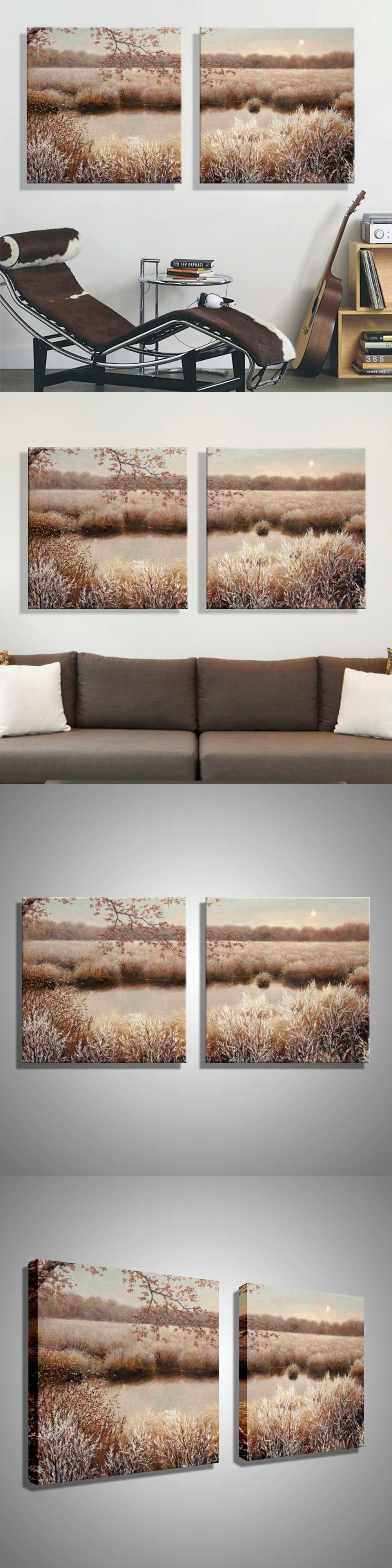 Oil Painting Abstract Riverside Scenery Decoration Painting Home