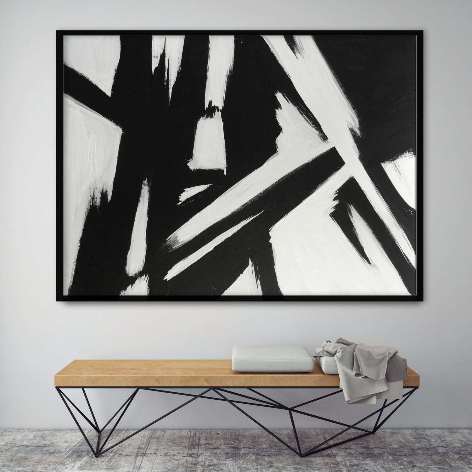 Abstract Black And White Painting Modern Living Room Wall Art