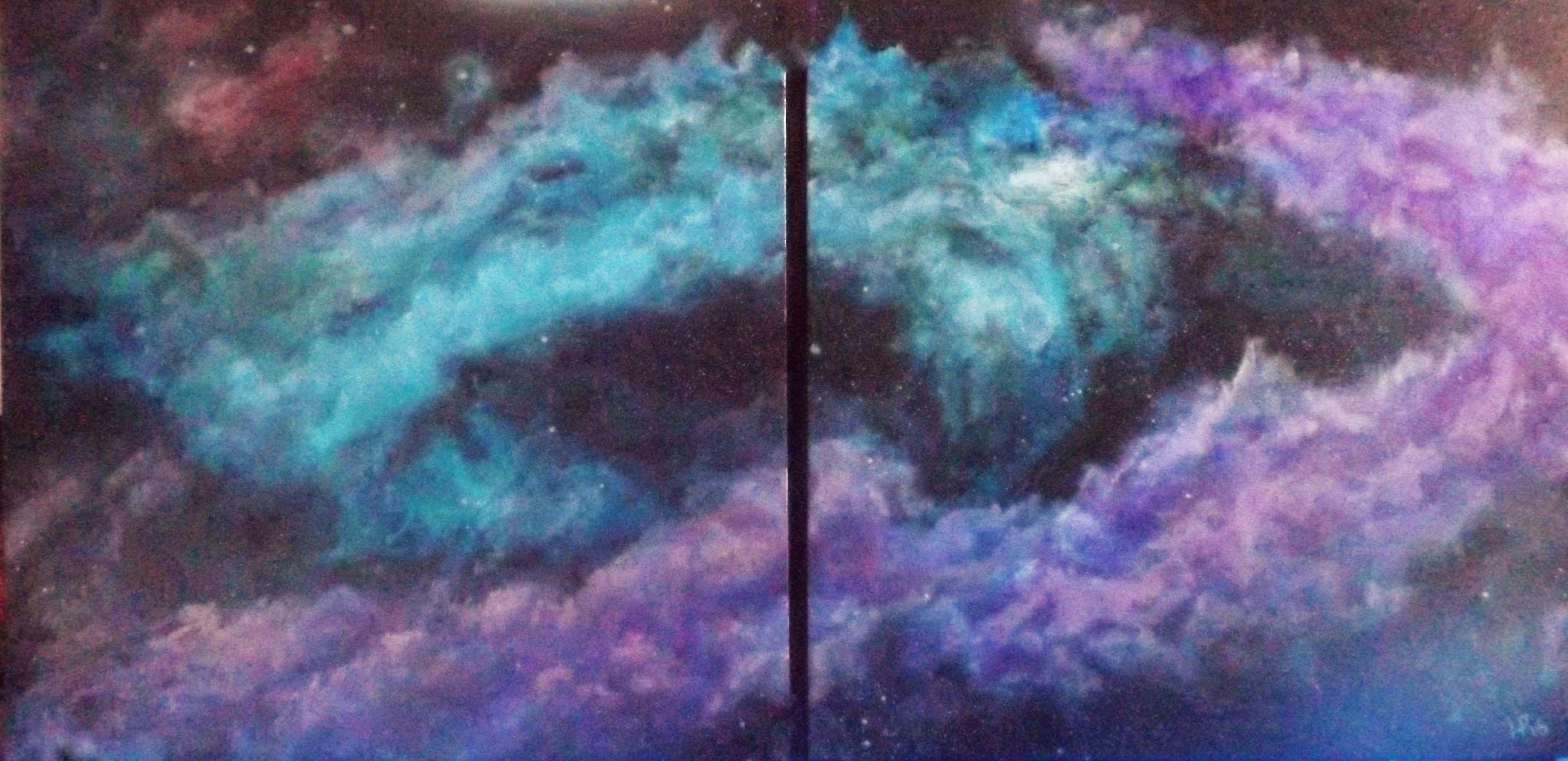 Acrylic diptych Nebula inspired painting by Lisa Price Art For Sale