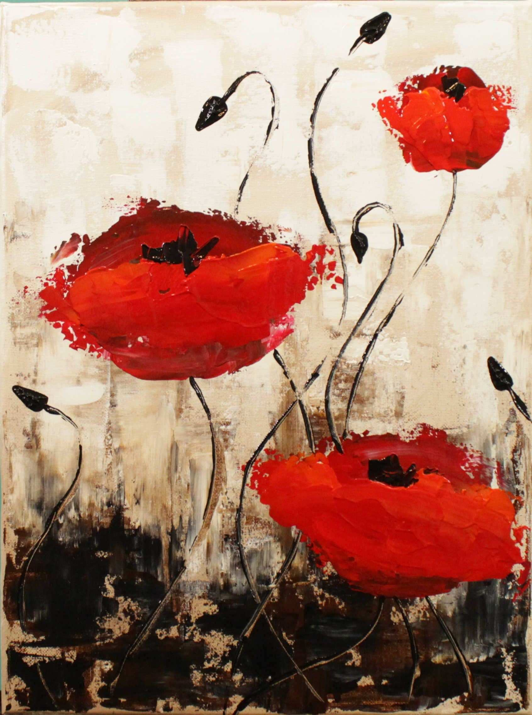 Impressionist Poppies Step by Step Acrylic Painting on Canvas for
