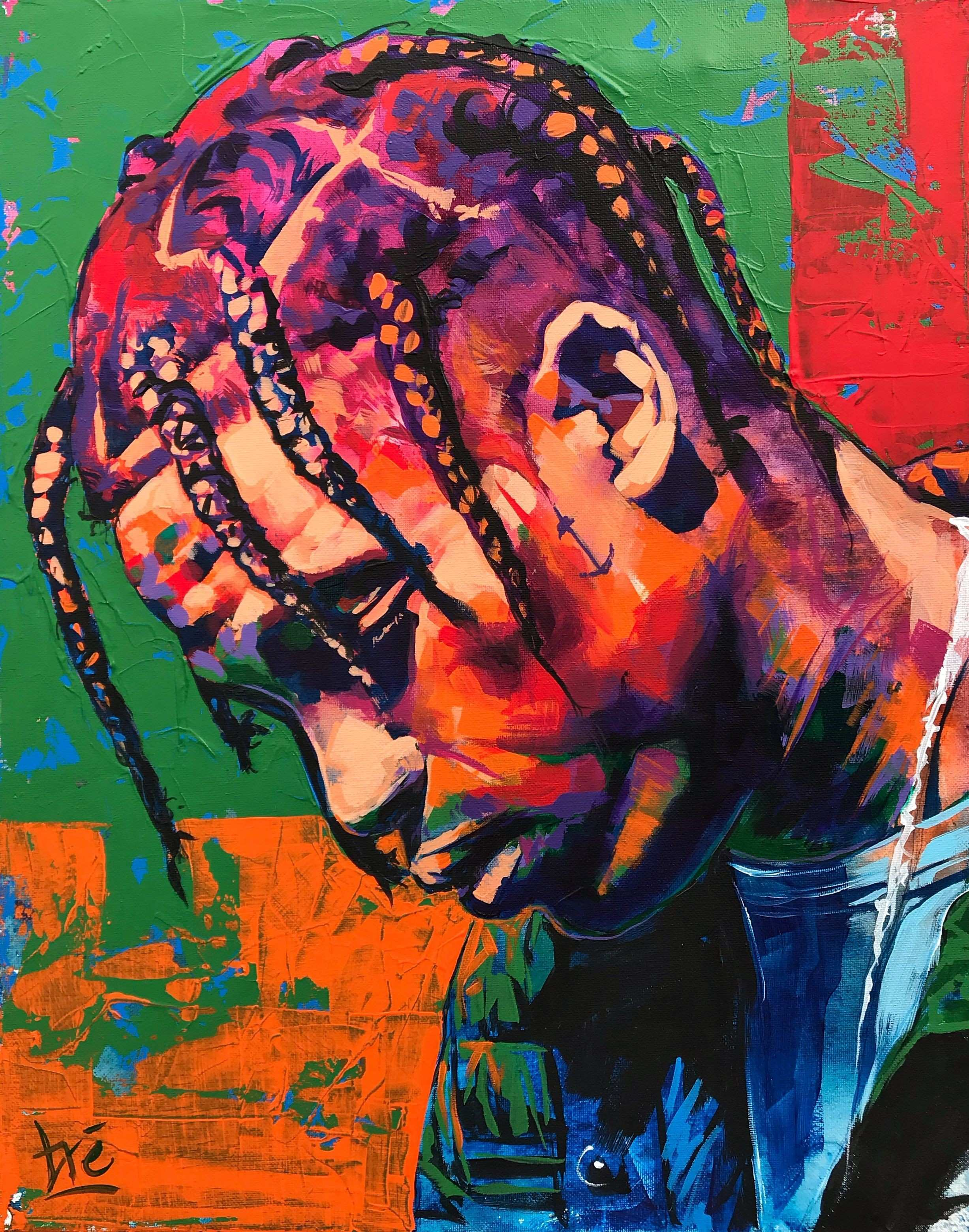 Travis Scott Acrylic Painting Astroworld