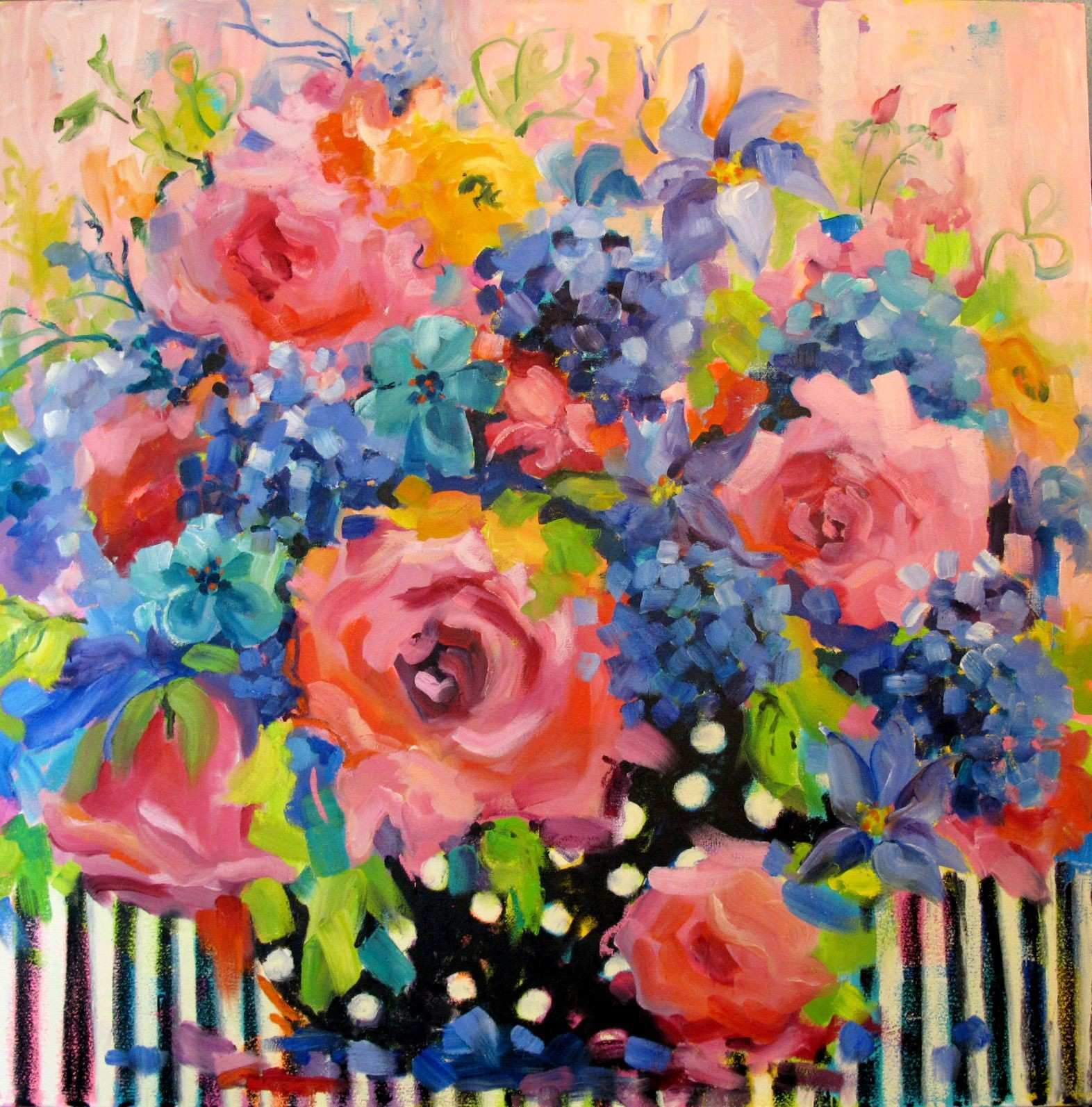 11 Grandma s Flowers 36x36 Oil on canvas
