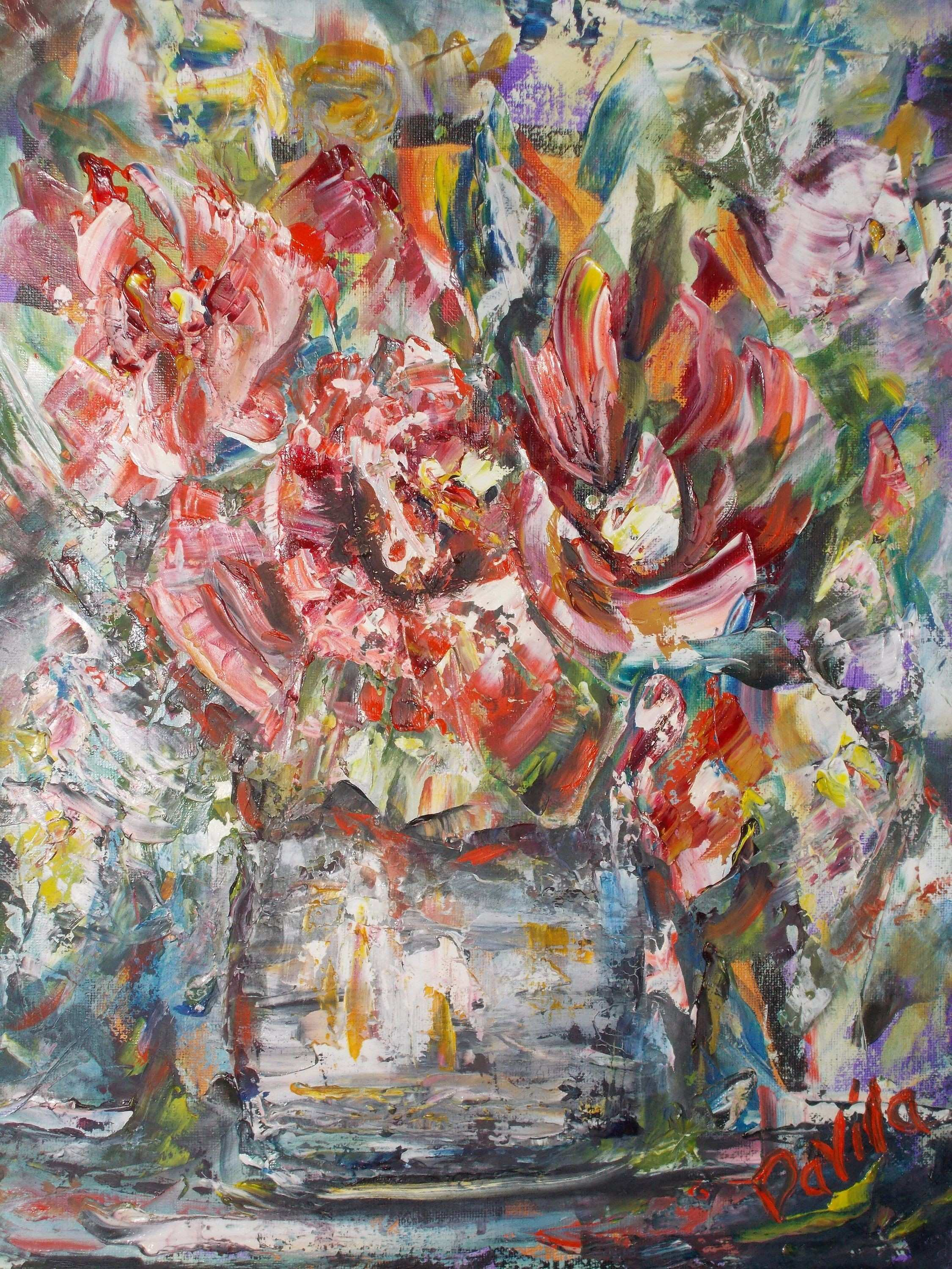 Original by Davila Wild Red Floral impasto palette knife oil