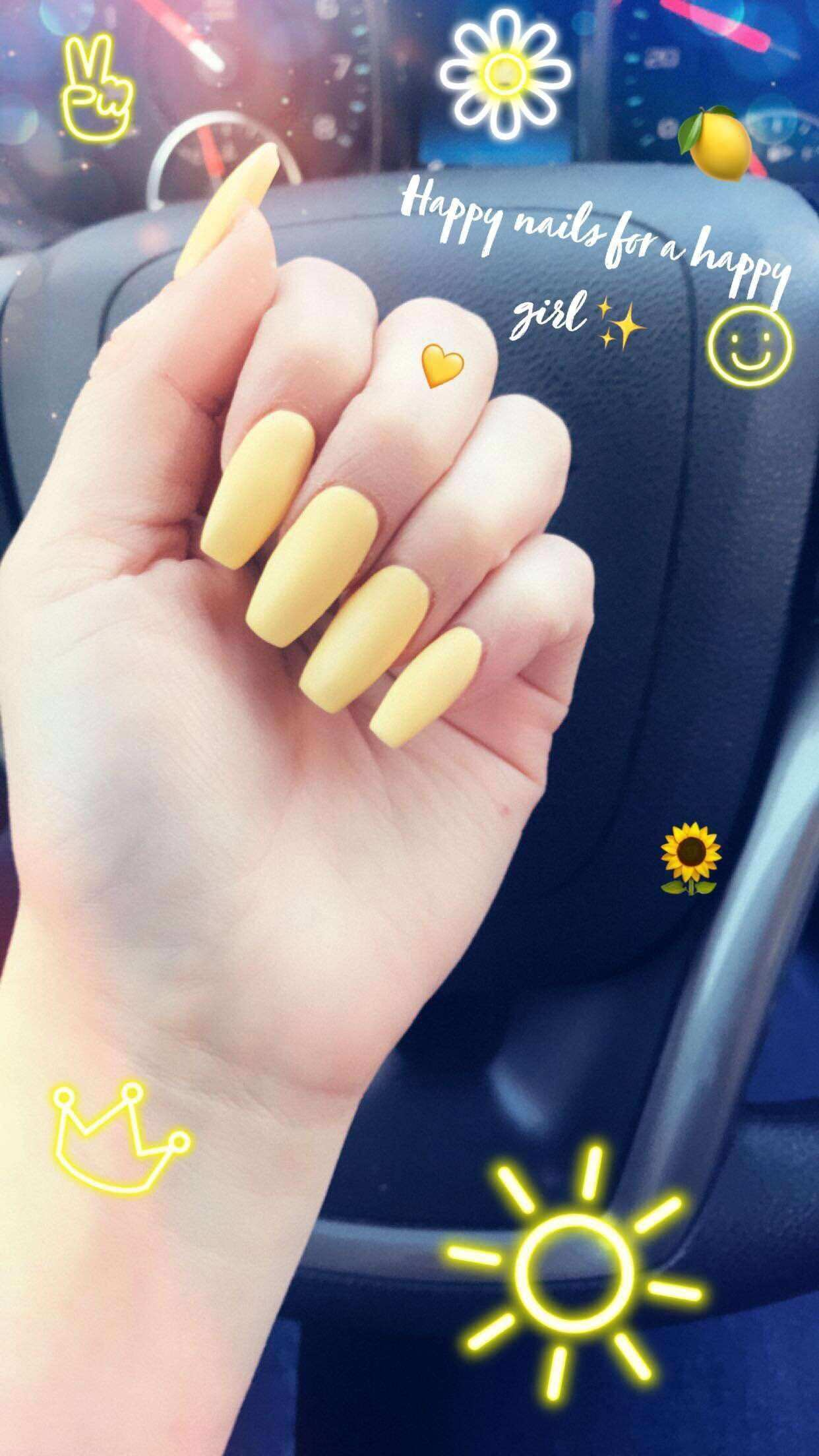 Yellow coffin acrylic nails Nails CoffinNails Spring Acrylics