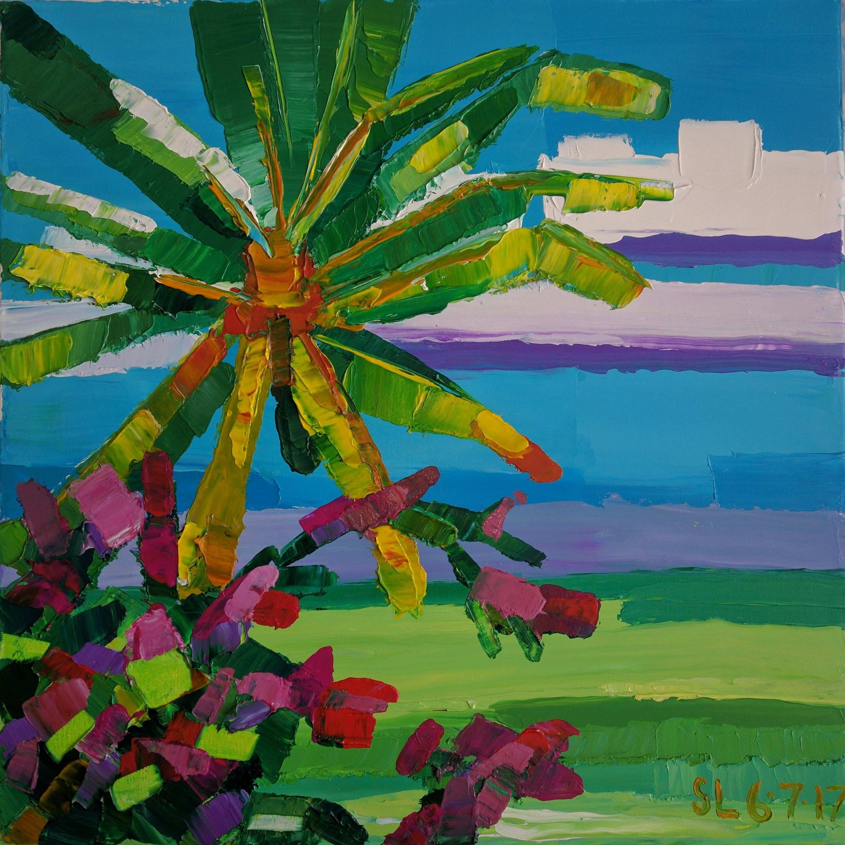 Florida palm tree and ocean 24x24 inches acrylic on canvas price