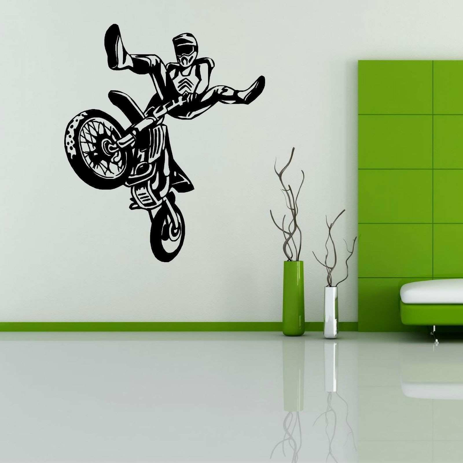 Motocross Wall Sticker Bedroom Boy Room Dirt Bike Dirtbike Moto Bike