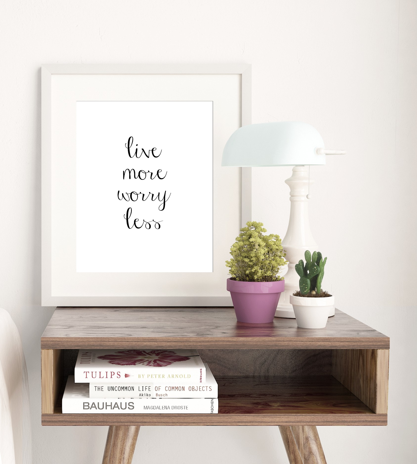 Live More Worry Less Typography Wall Print
