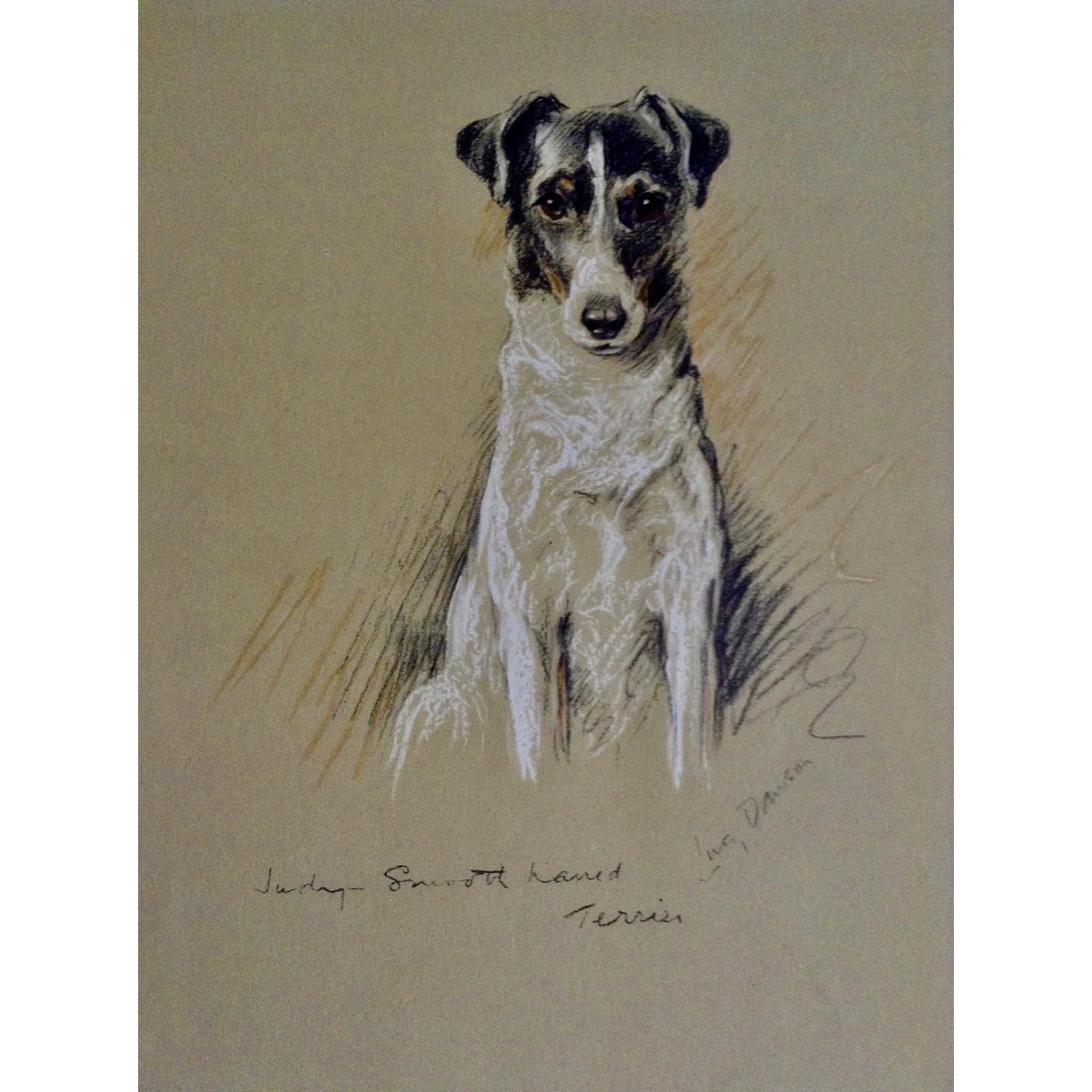 1930 s 1940 s Lucy Dawson Smooth Haired Terrier Named Judy Framed
