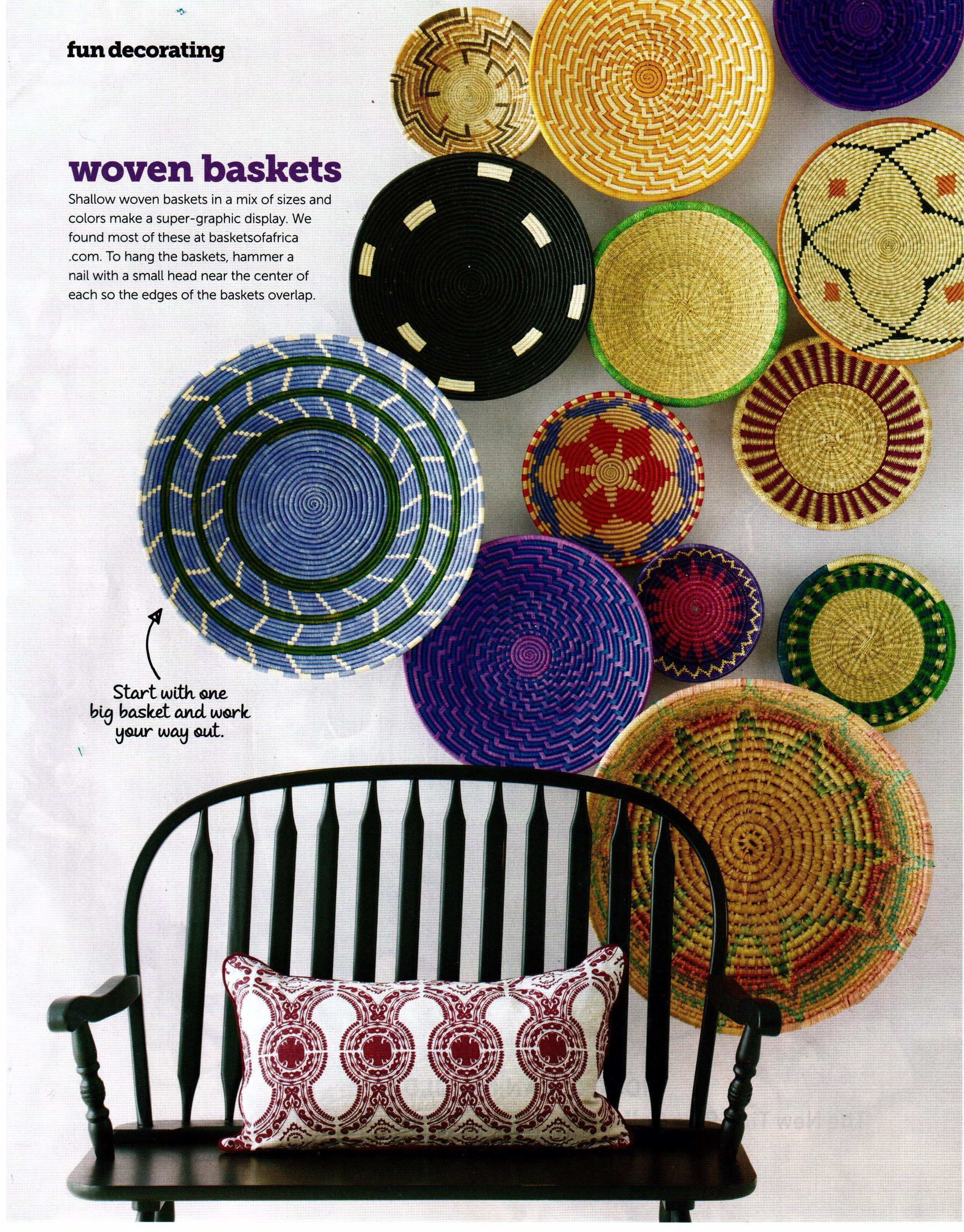 Adore these African Baskets hung overlaping on the wall