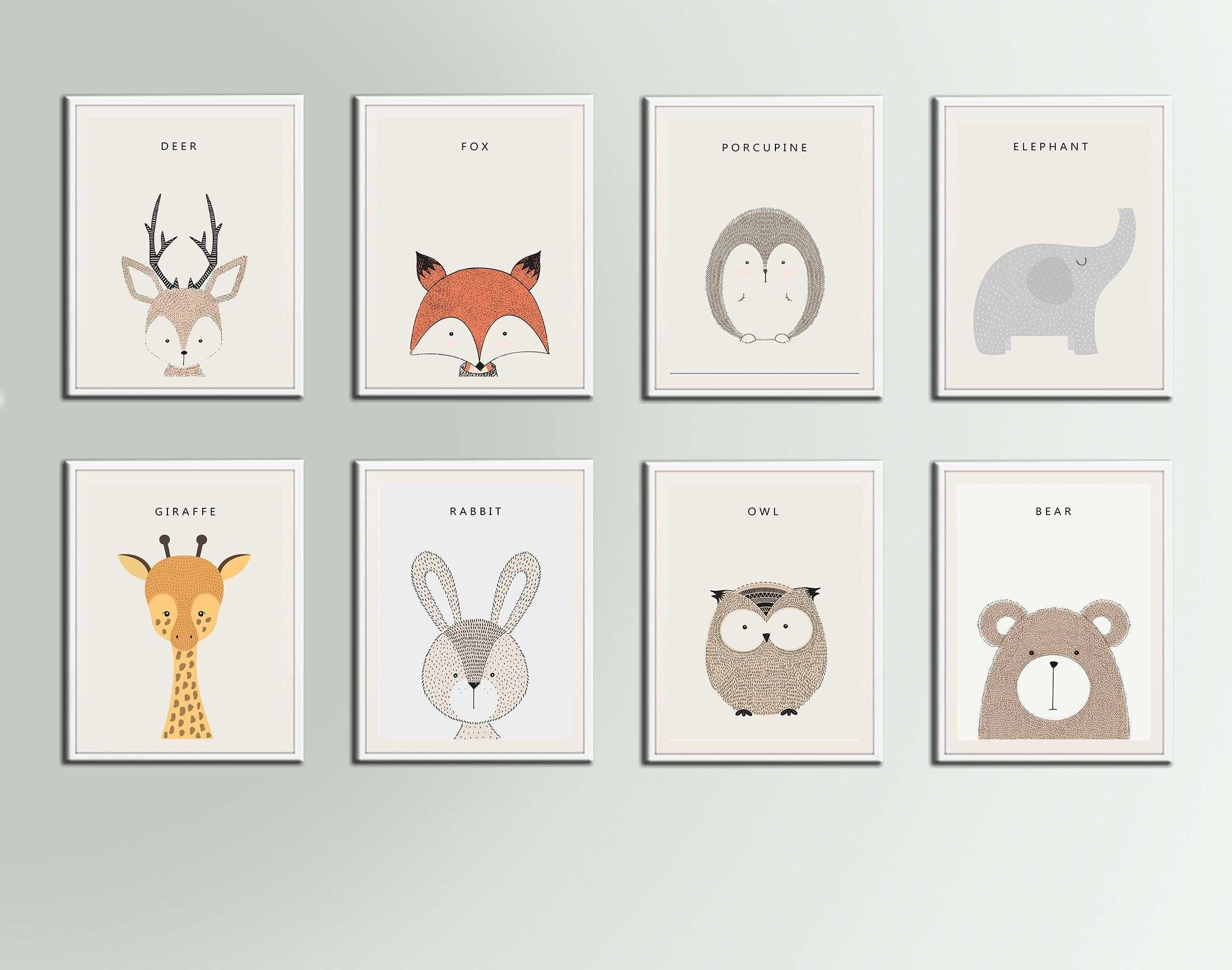 Jungle Animals Nursery Art Print Deer Fox Porcupine Elephant Giraffe