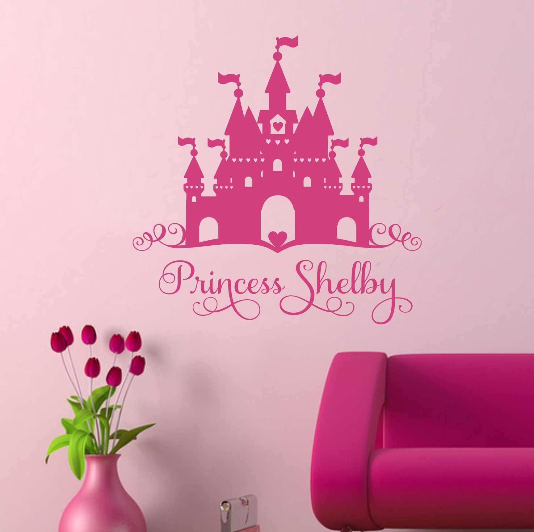 Heart Castle Princess Name Decal Vinyl Wall Lettering