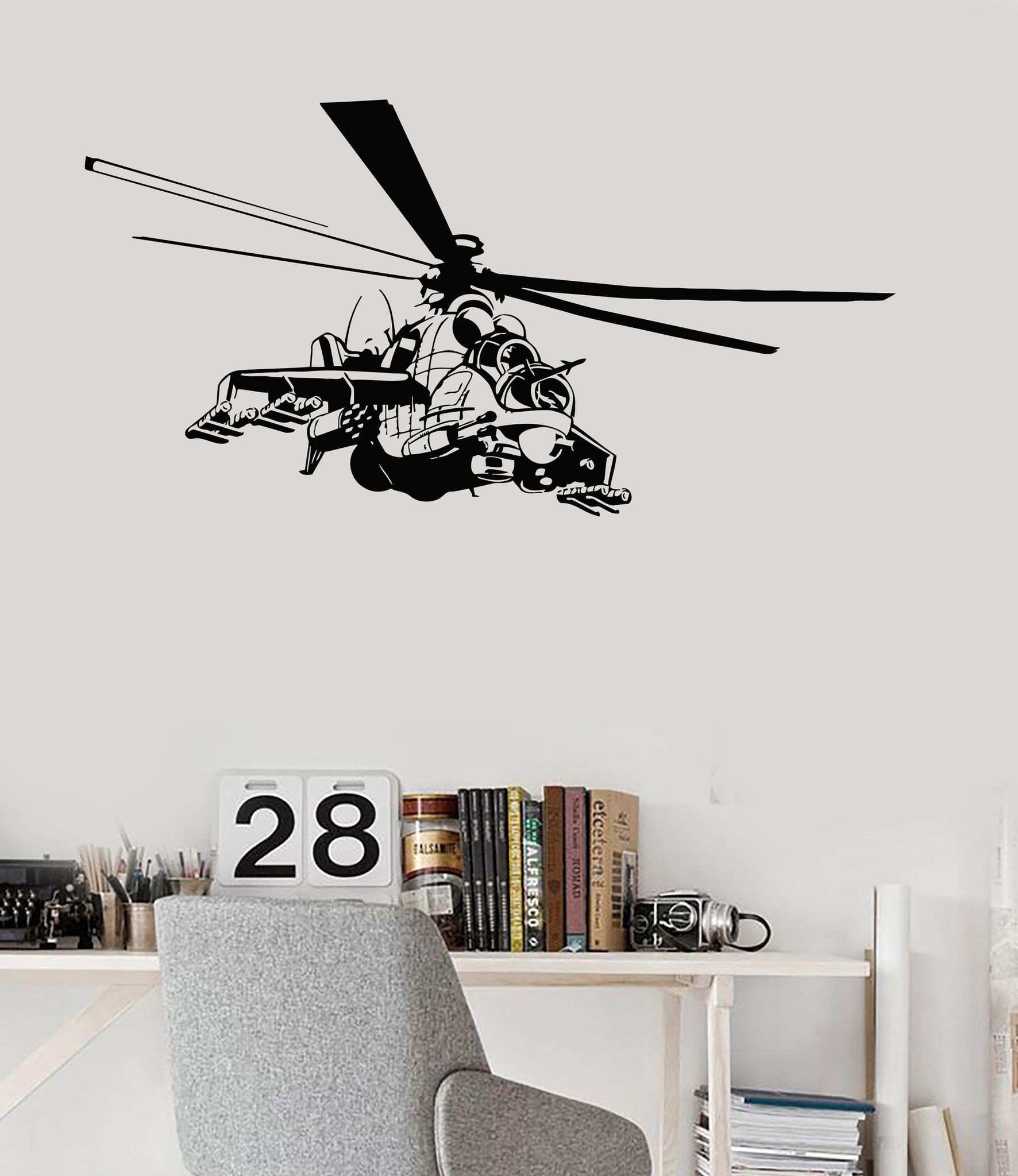 Wall Decal Helicopter Air Force Flight Military Boys Room Vinyl