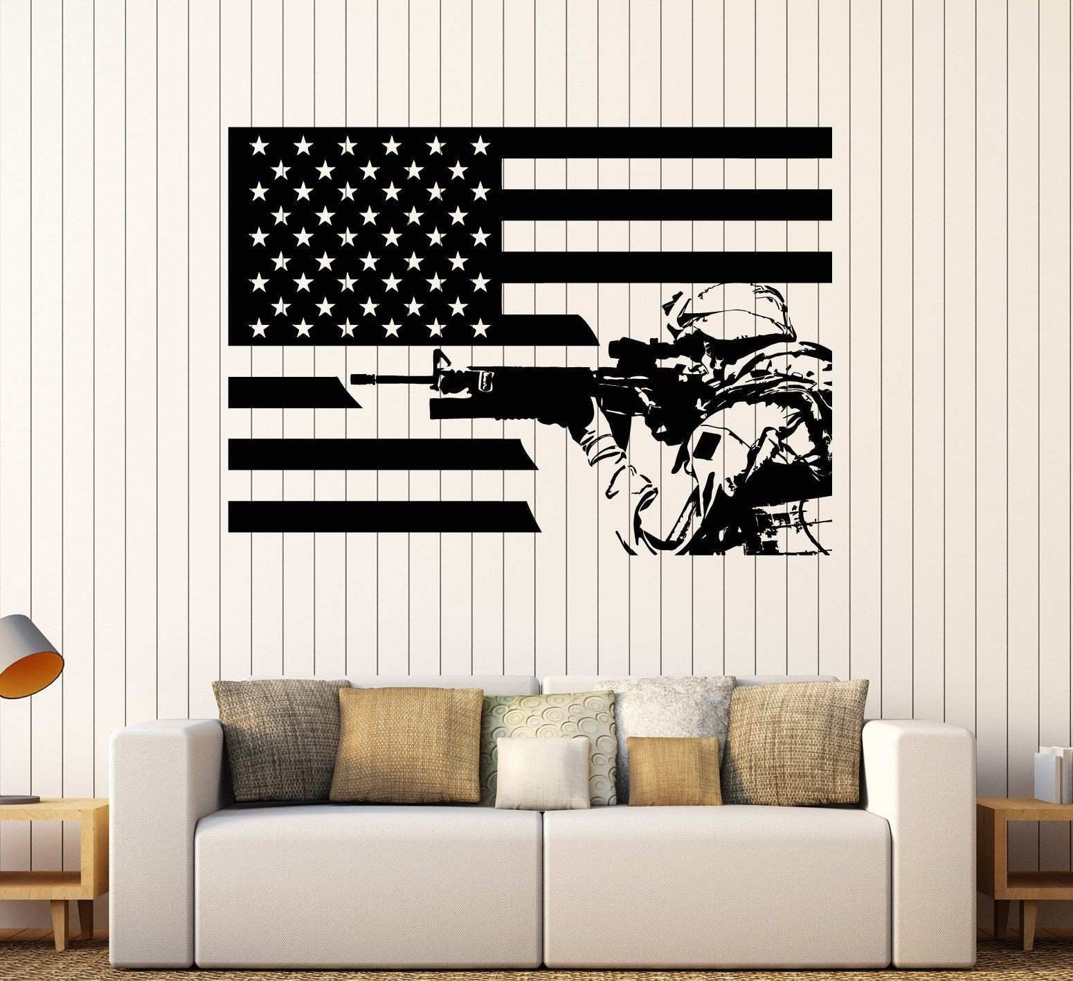 Wall Sticker Vinyl American Sol r Flag Patriotic Decor Unique Gift