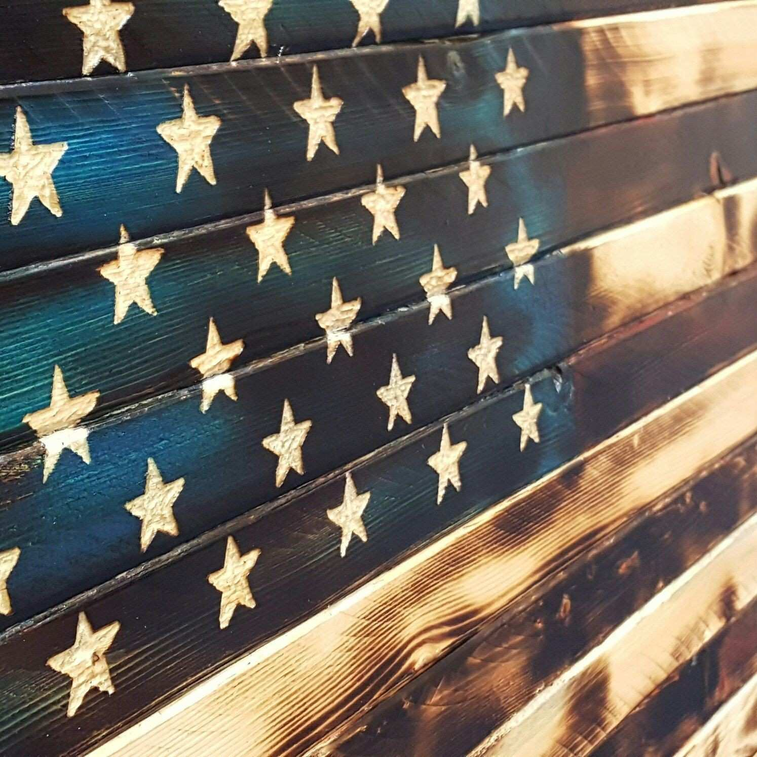 Rustic charred American Flag with a hint of color This was a fun